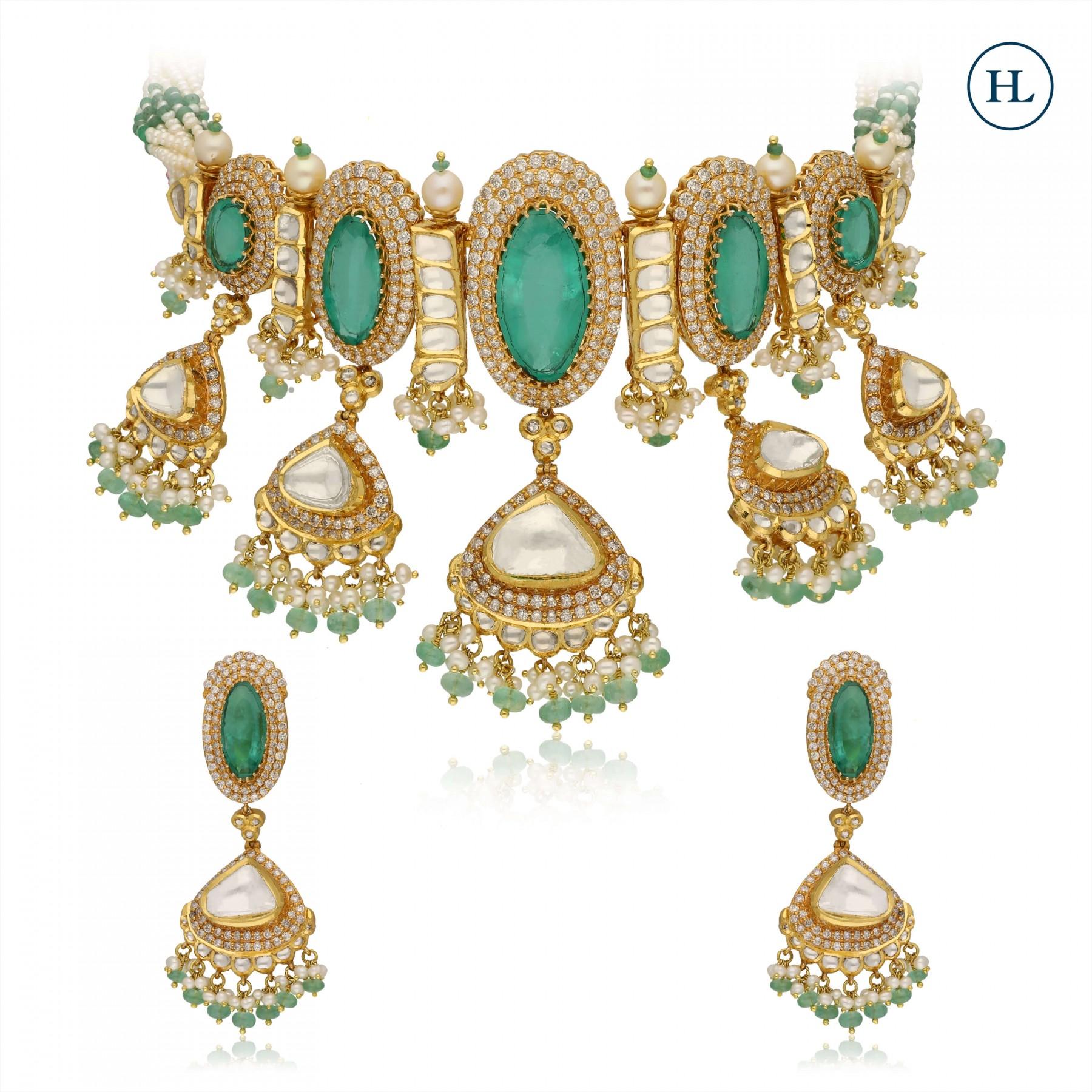 Emerald & Polki Necklace Set