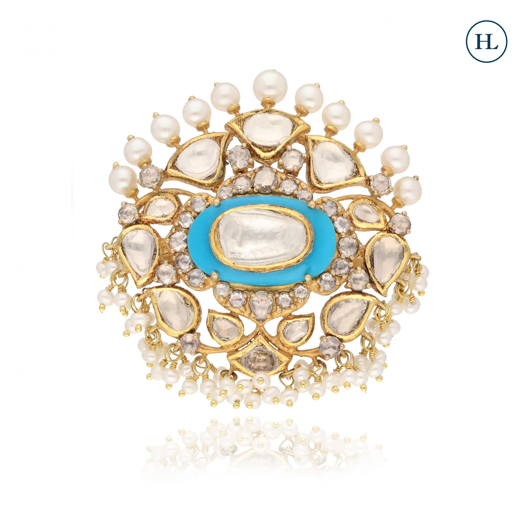 Antique-Styled Polki & Turquoise Ring