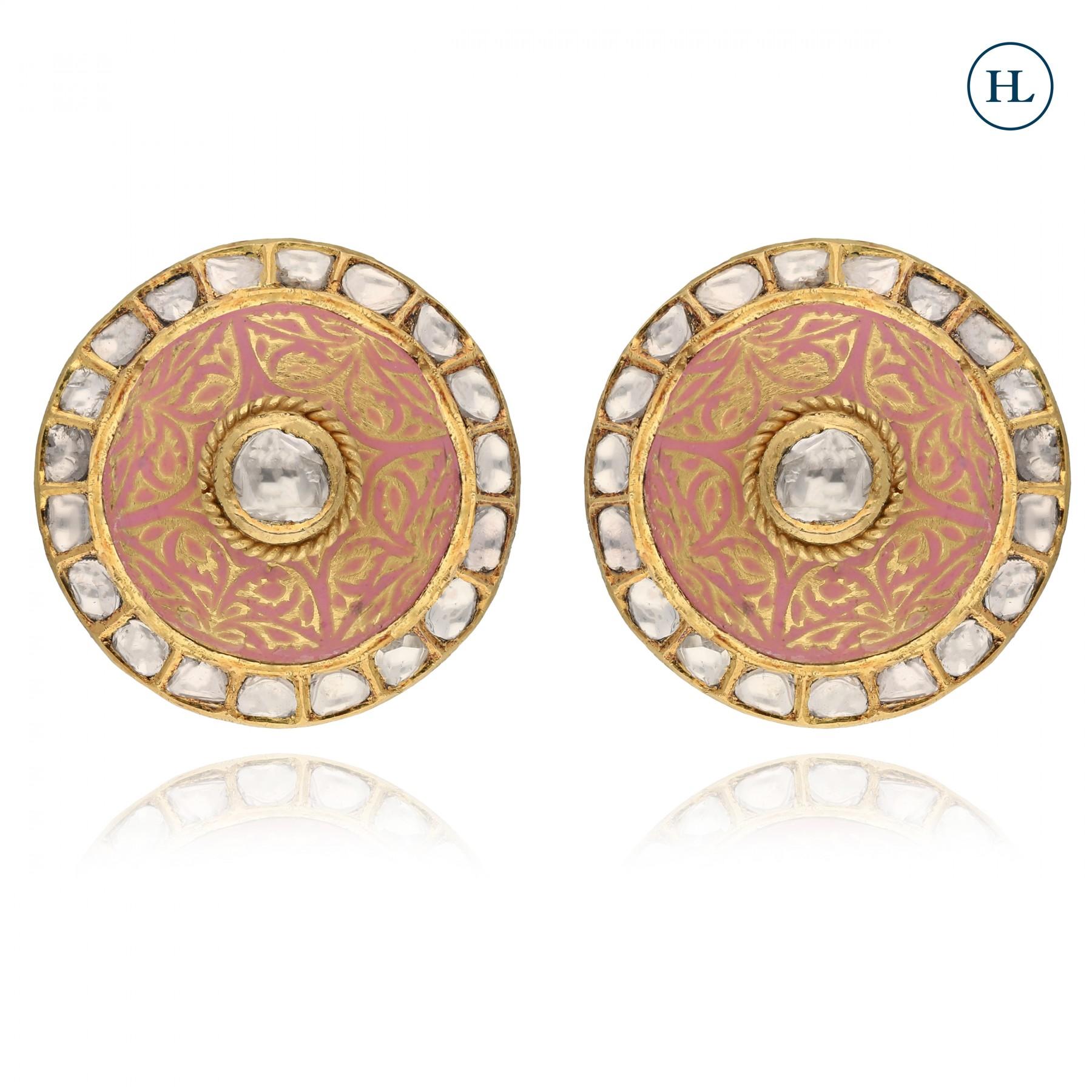 Antique-Styled Polki Enamel Earrings