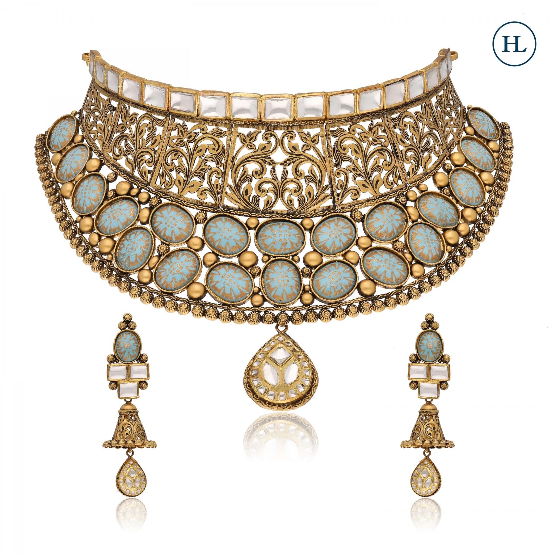 Antique-Styled Enamel Gold & Kundan Choker Set