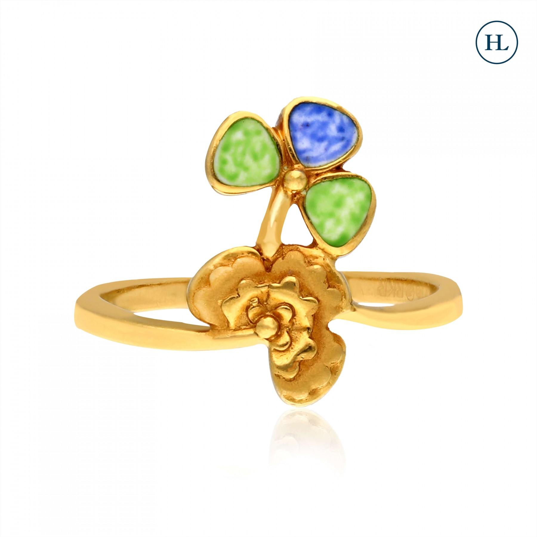 Gold Enamel Petal Ring