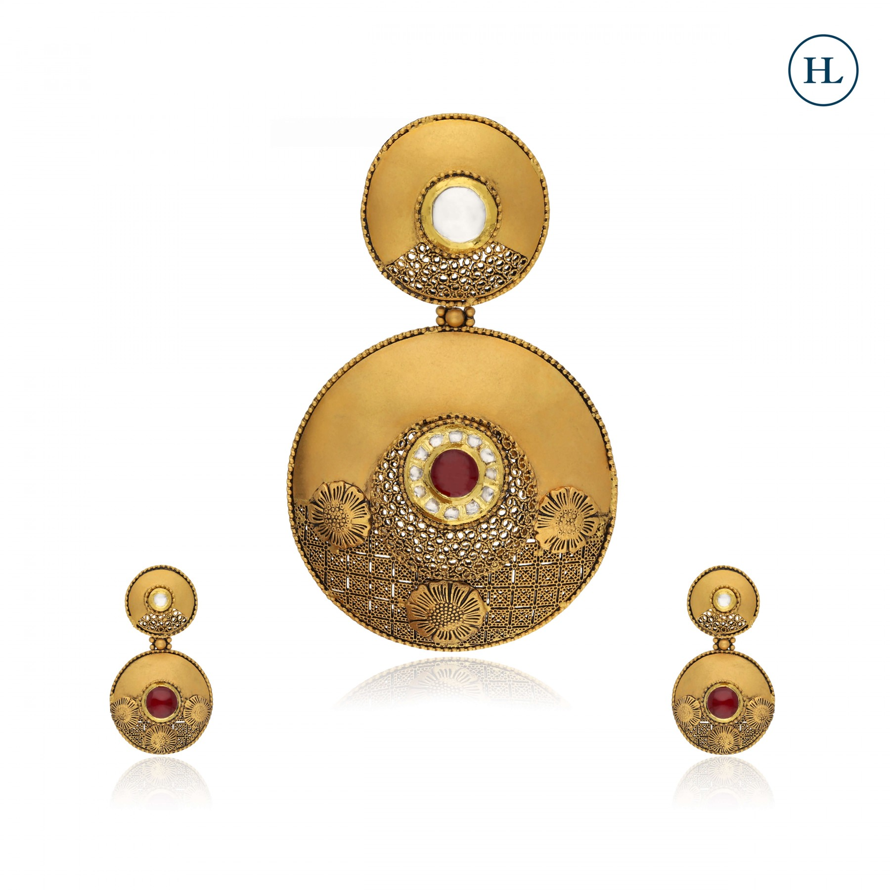 Kundan & Gold Pendant Set