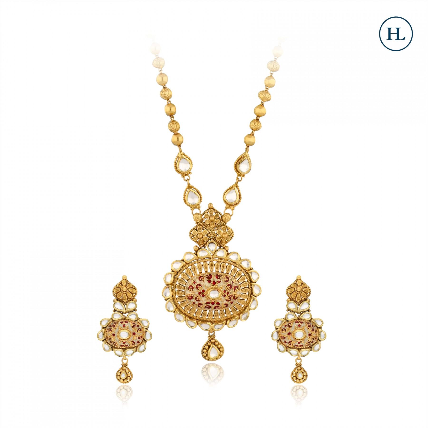 Enamel Kundan & Gold Pendant Set