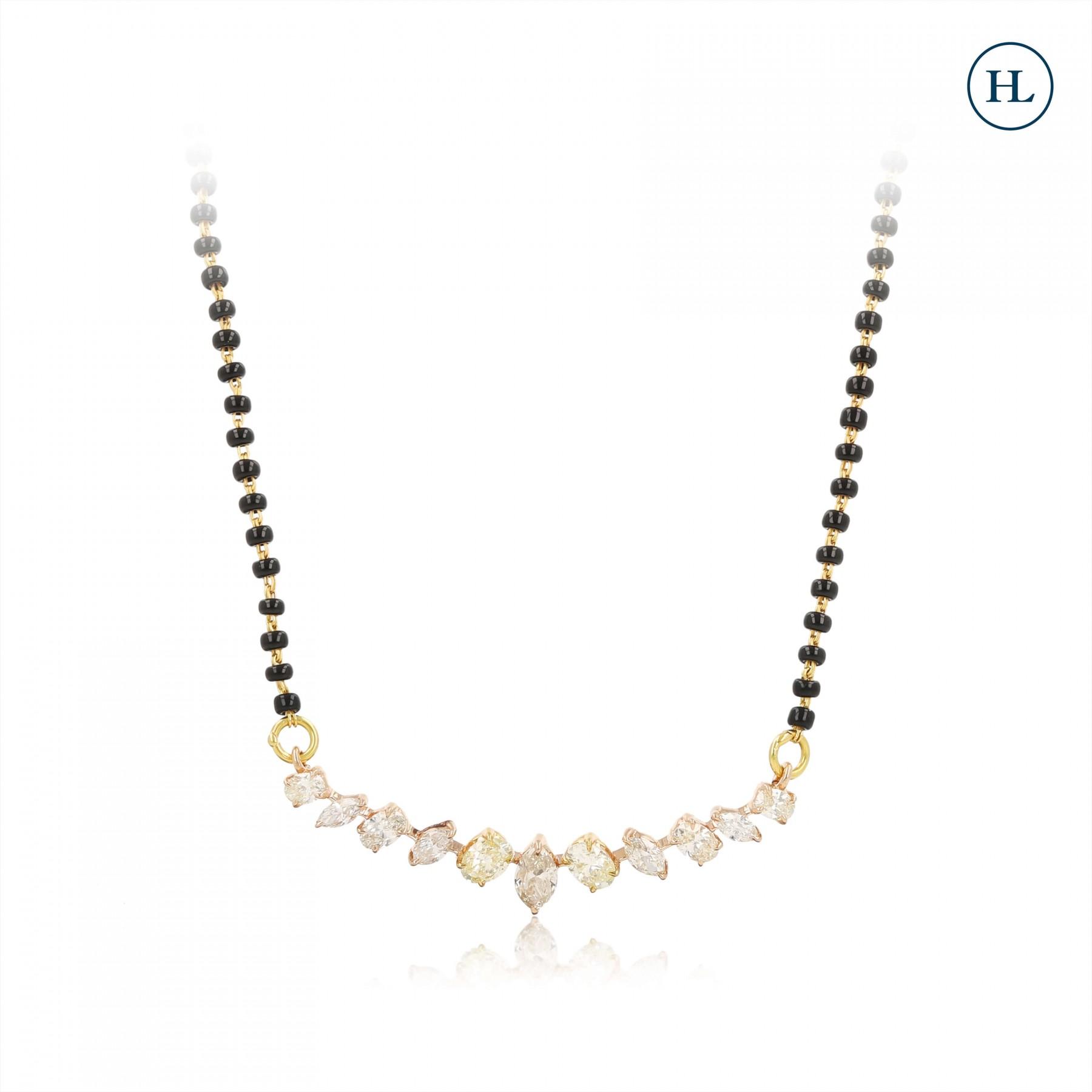 Diamond Mangalsutra with Black Beads Chain