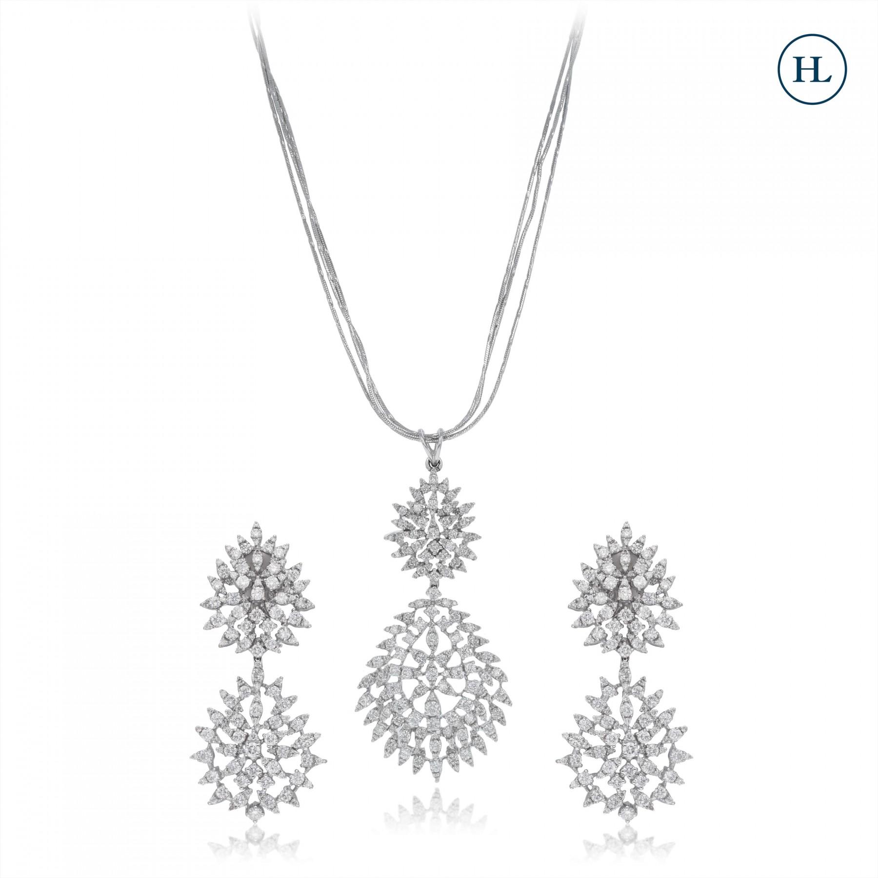 Classic Flower Diamond Pendant Set