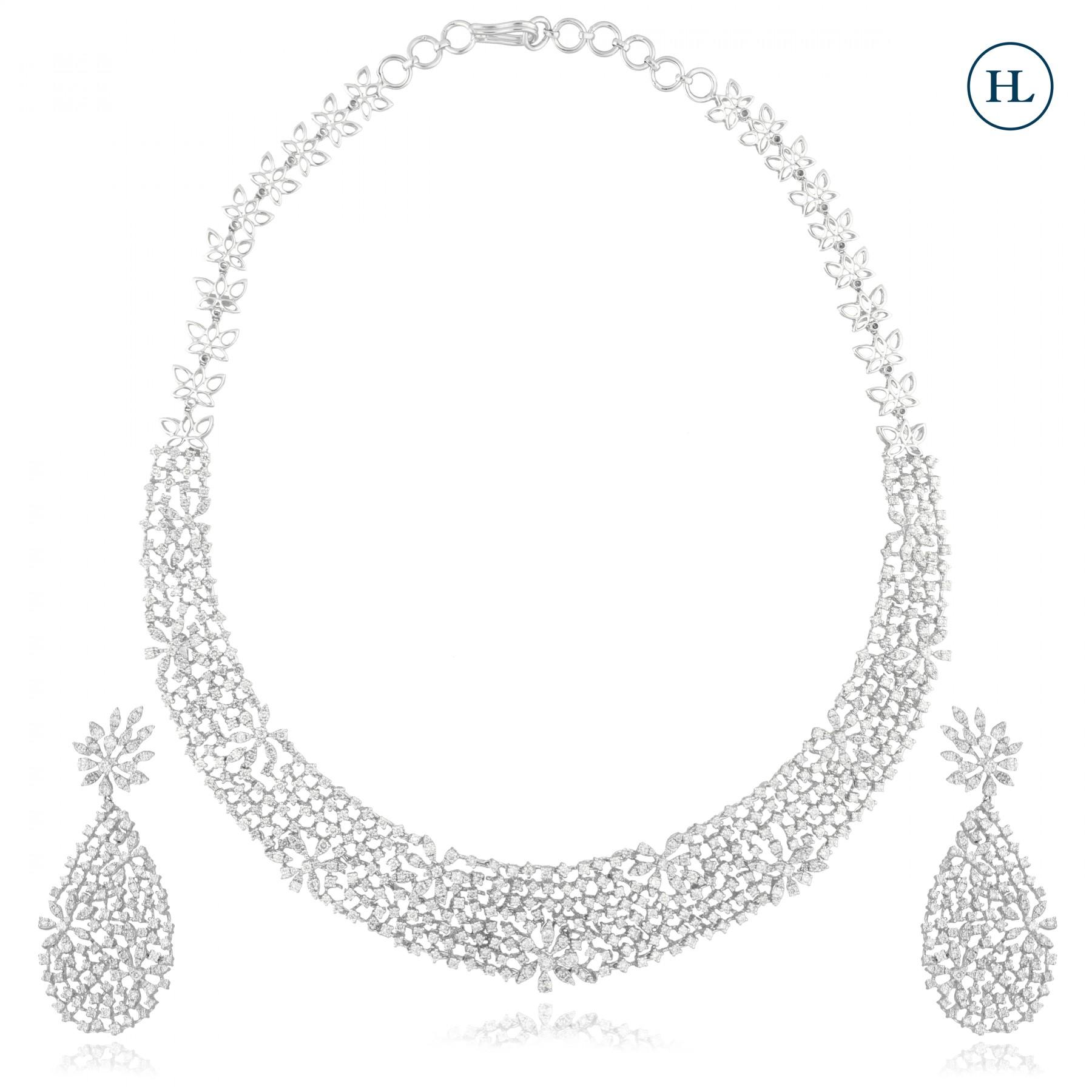 Cluster Diamond Necklace Set