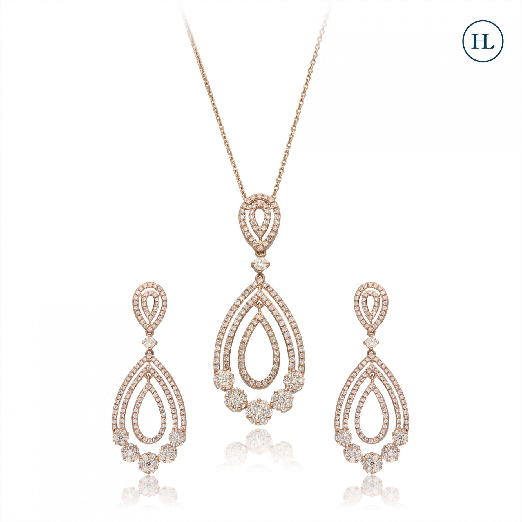 Drop Diamond Pendant Set