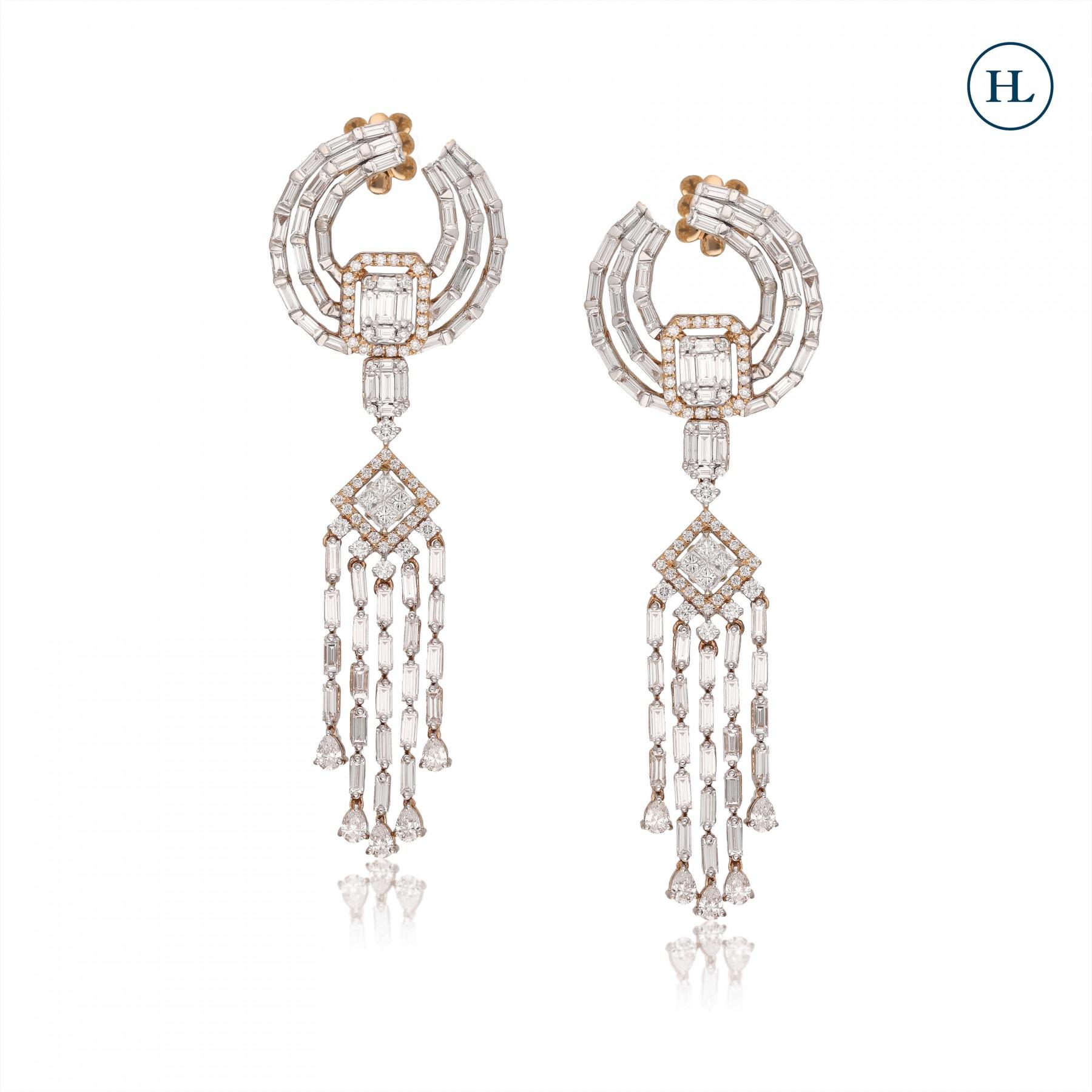 Five Lines Diamond Earring