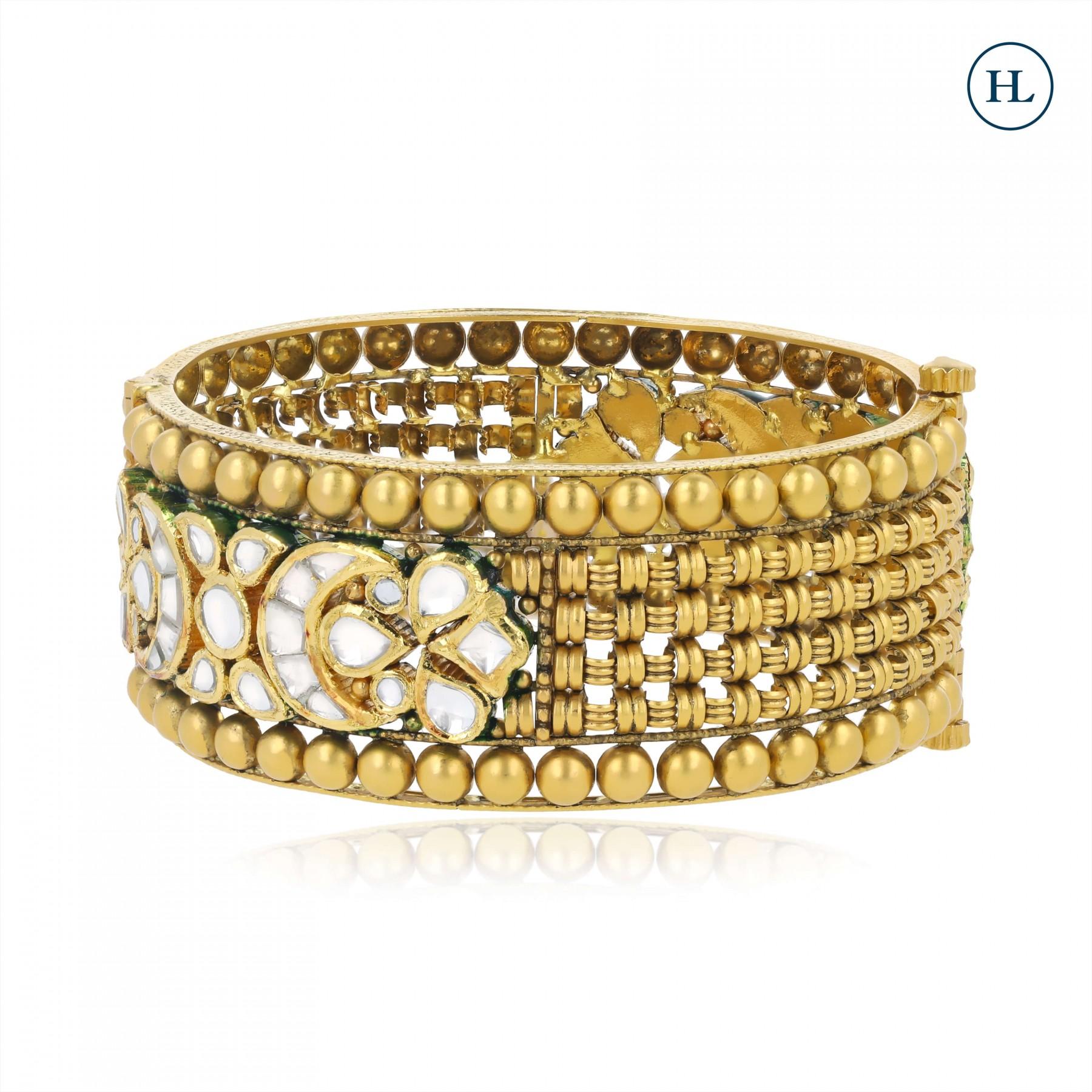 Antique-Styled Kundan & Gold Openable Bangle