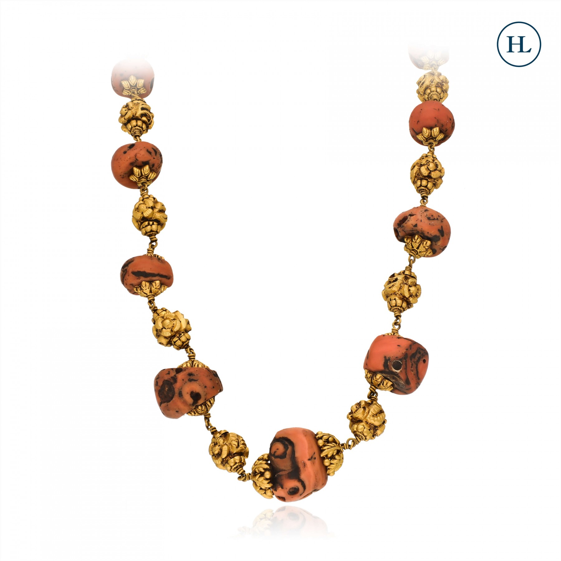 Temple Coral & Gold Chain