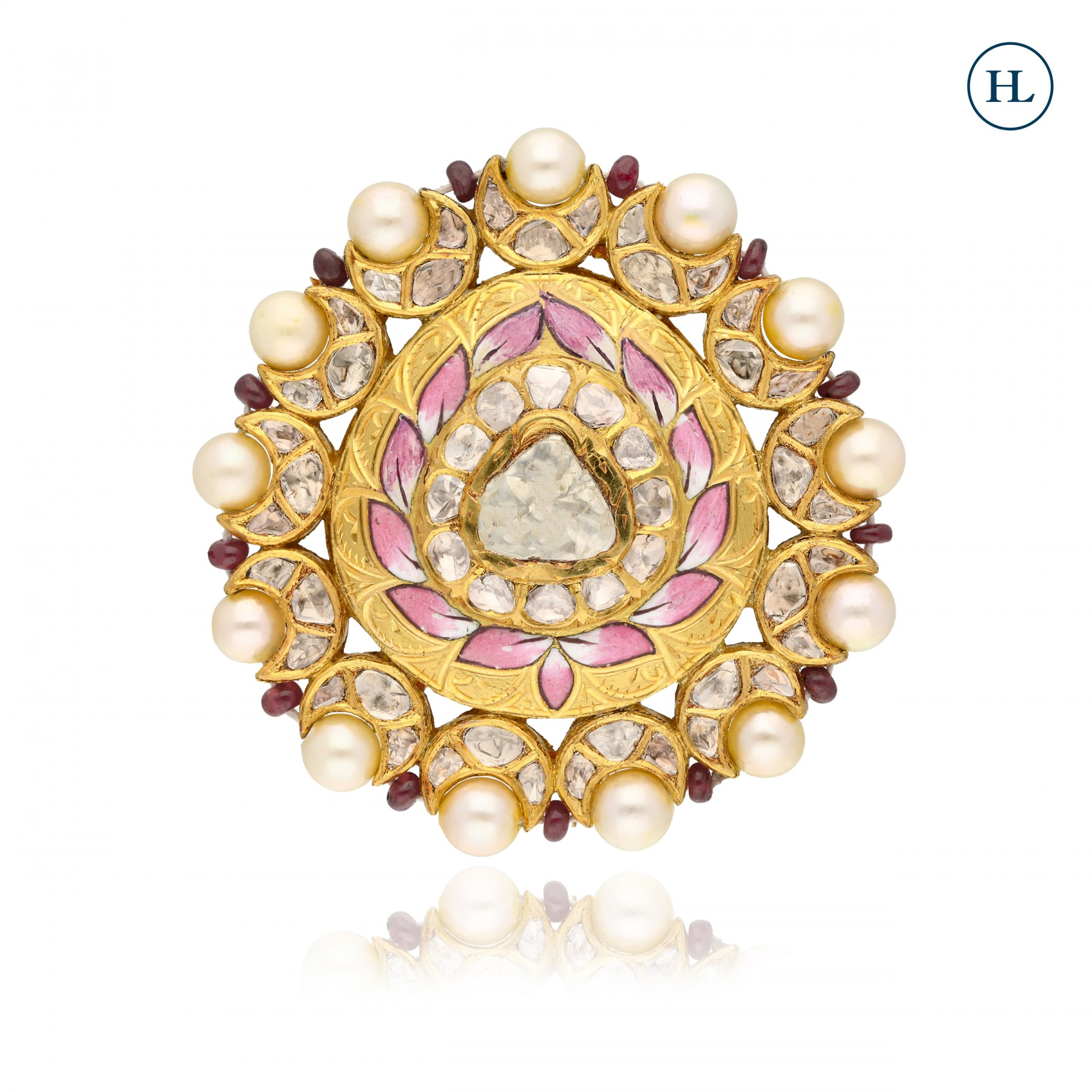 Antique-Styled Polki & Pearl Ring