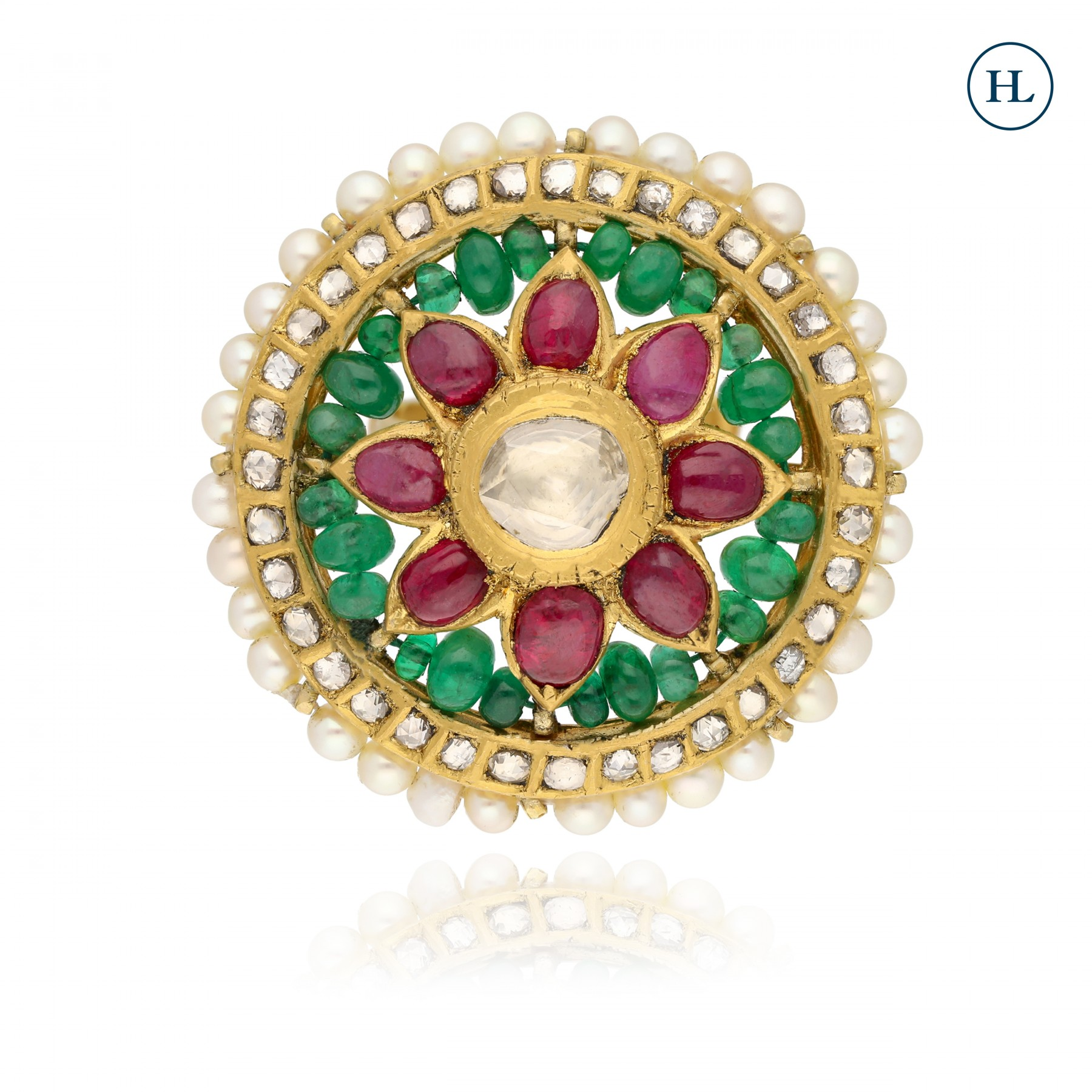 Antique-Styled Ruby & Emerald Ring