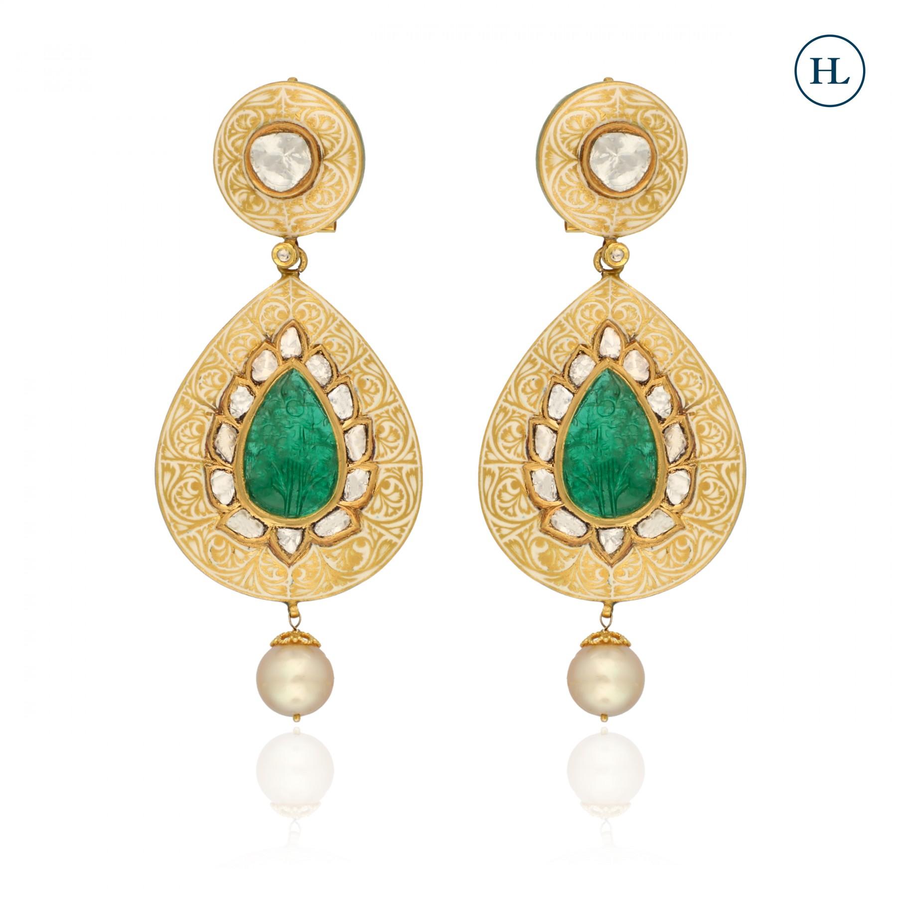 Emerald & Polki Earrings