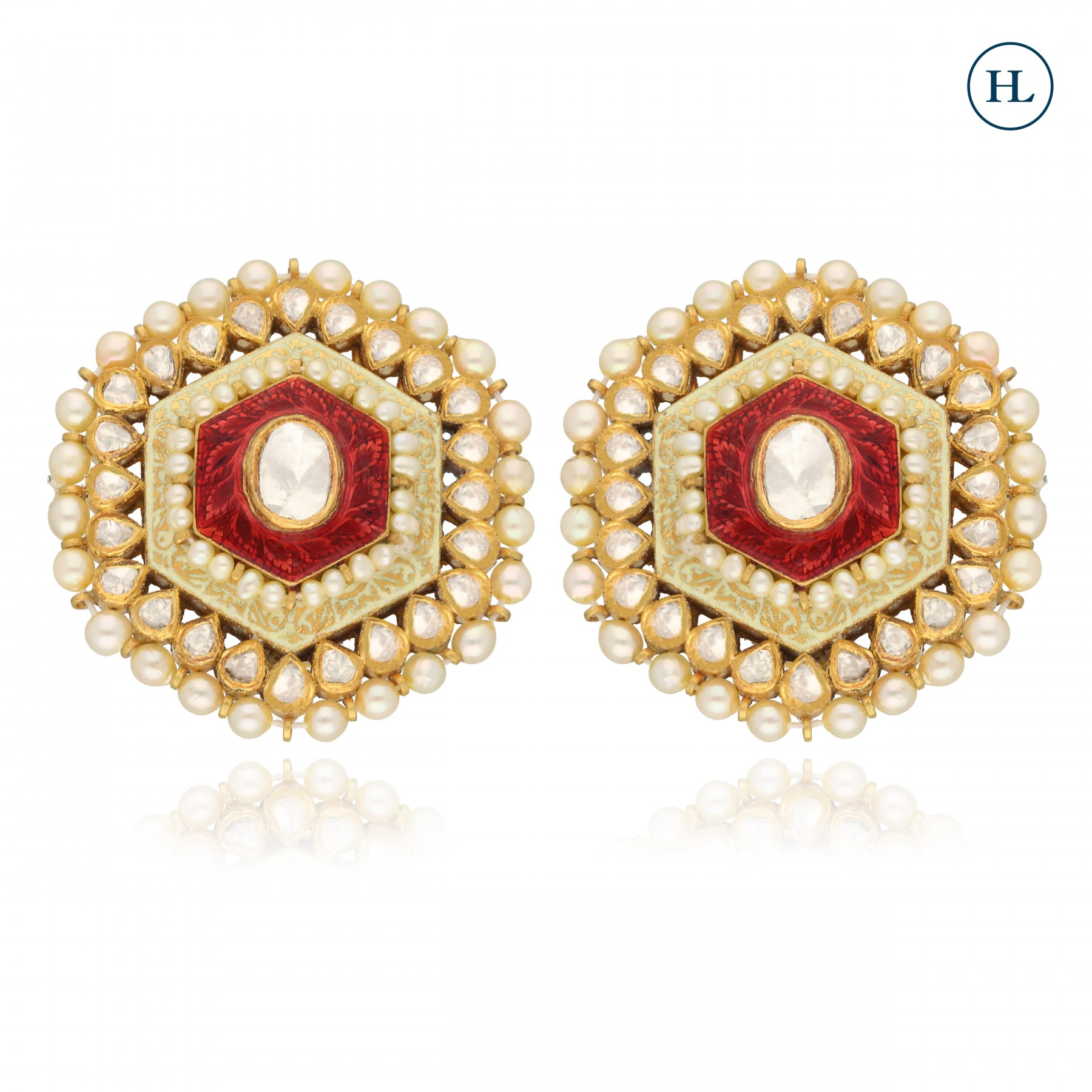 Polki Enamel Earrings