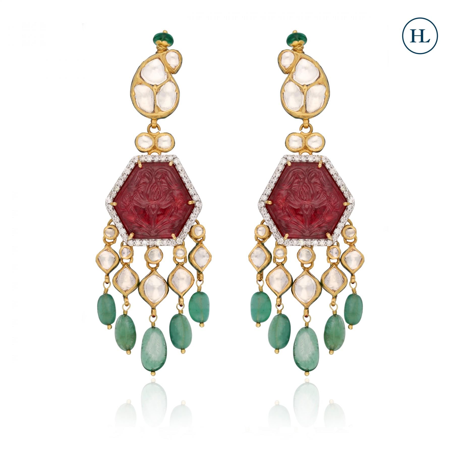 Ruby & Emerald Polki Earrings