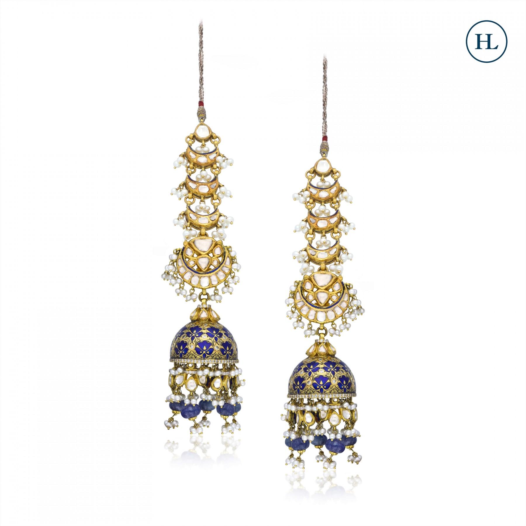 Enamel Polki Earrings
