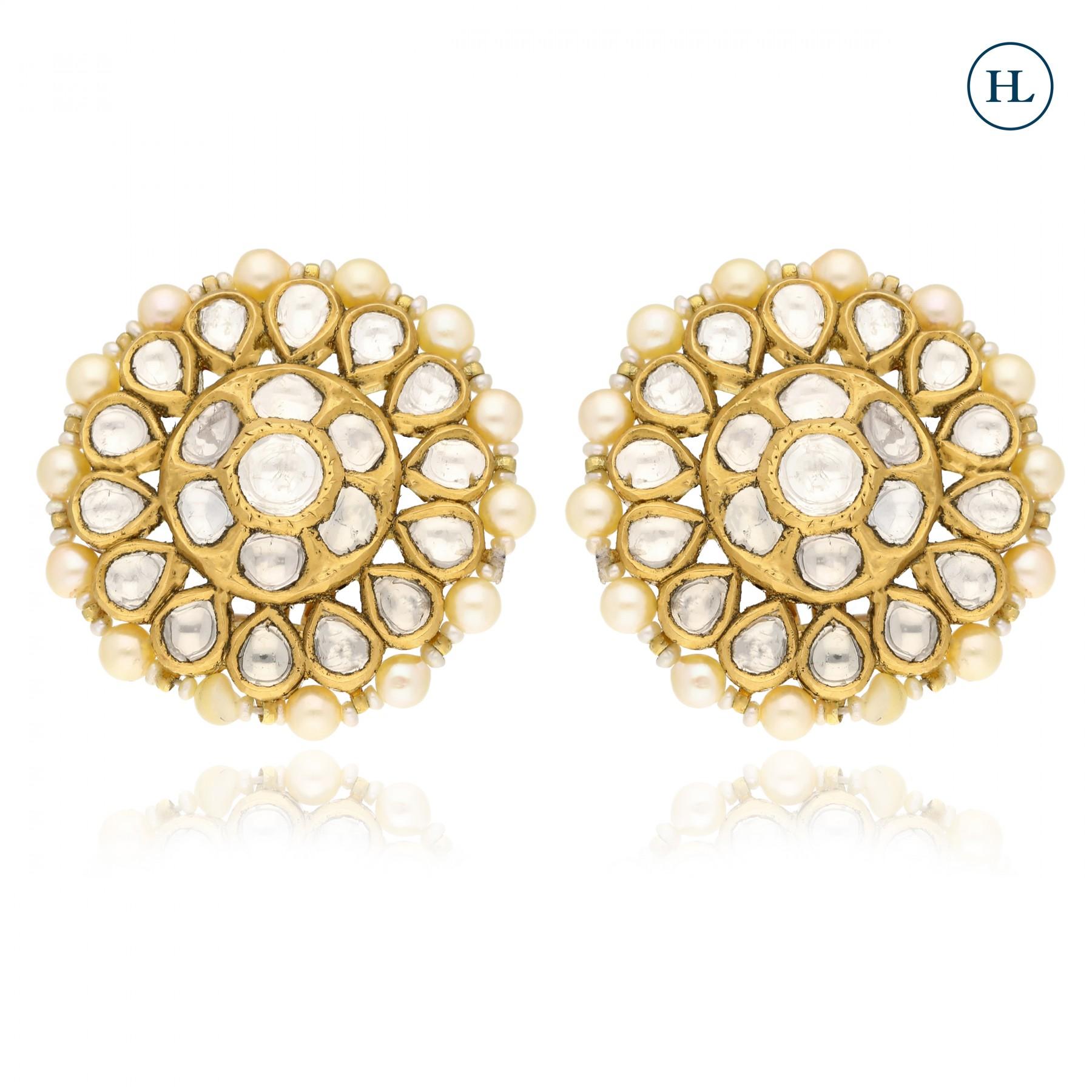 Antique-Styled Polki Earrings