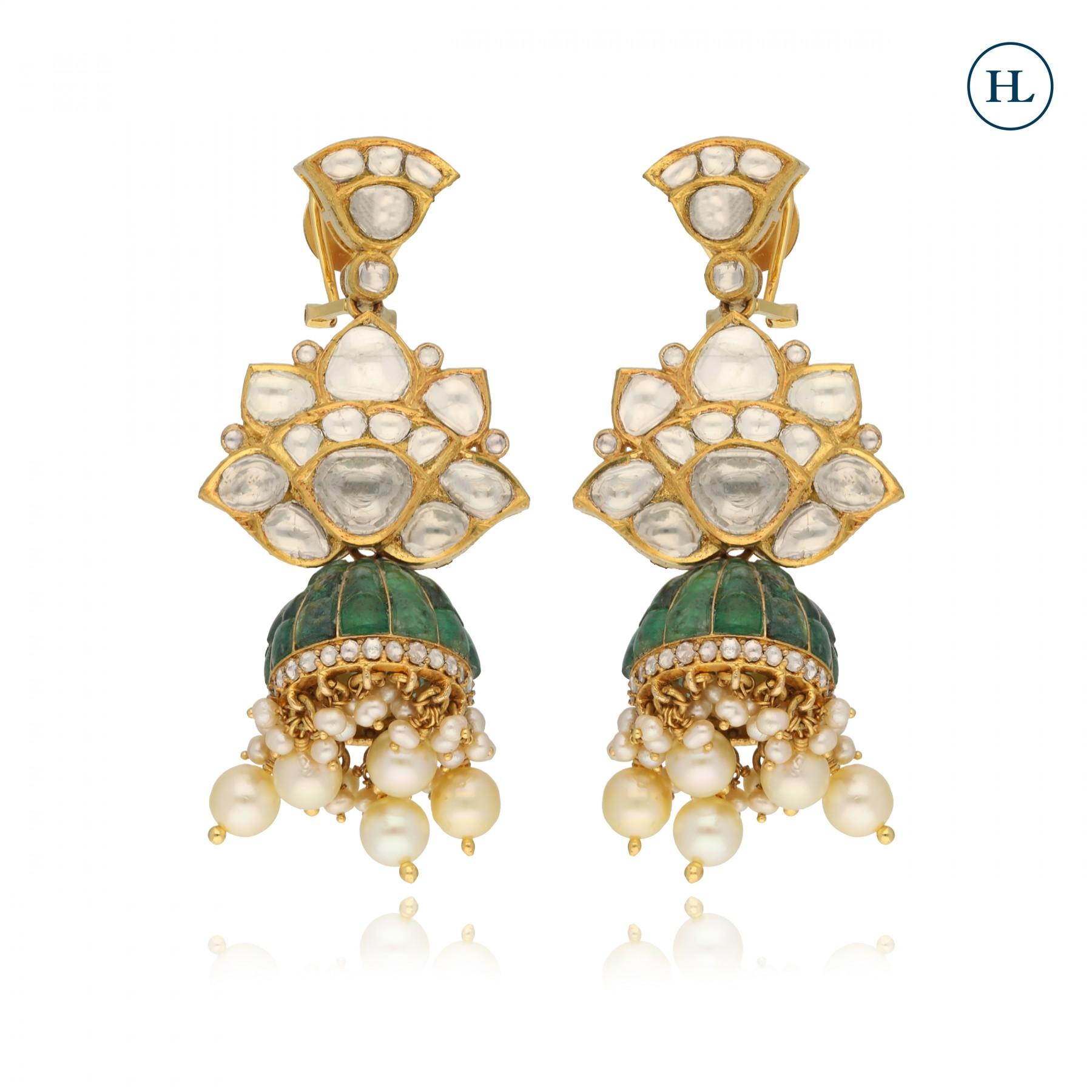 Polki & Emerald Earrings