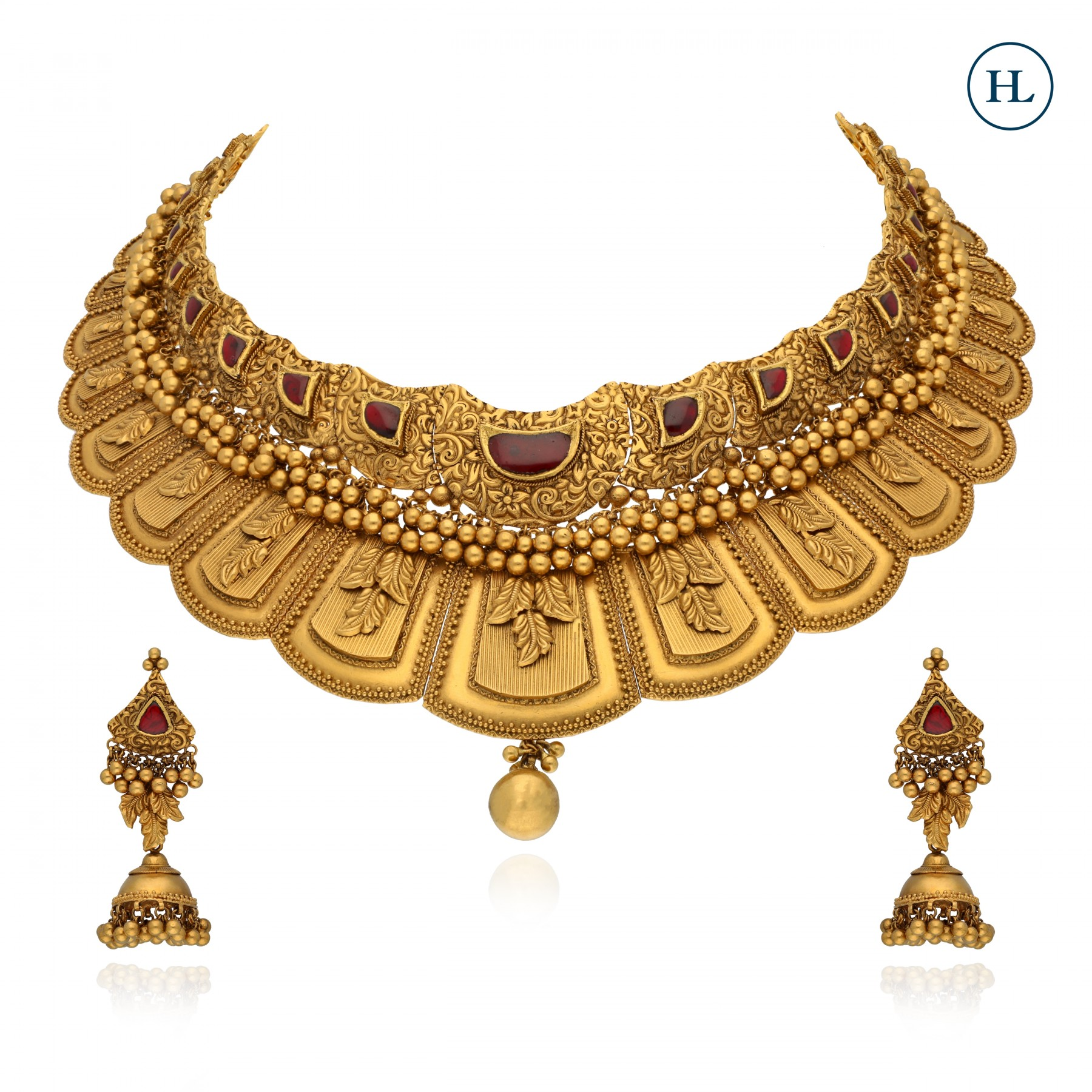 Antique-Styled Gold Necklace Set