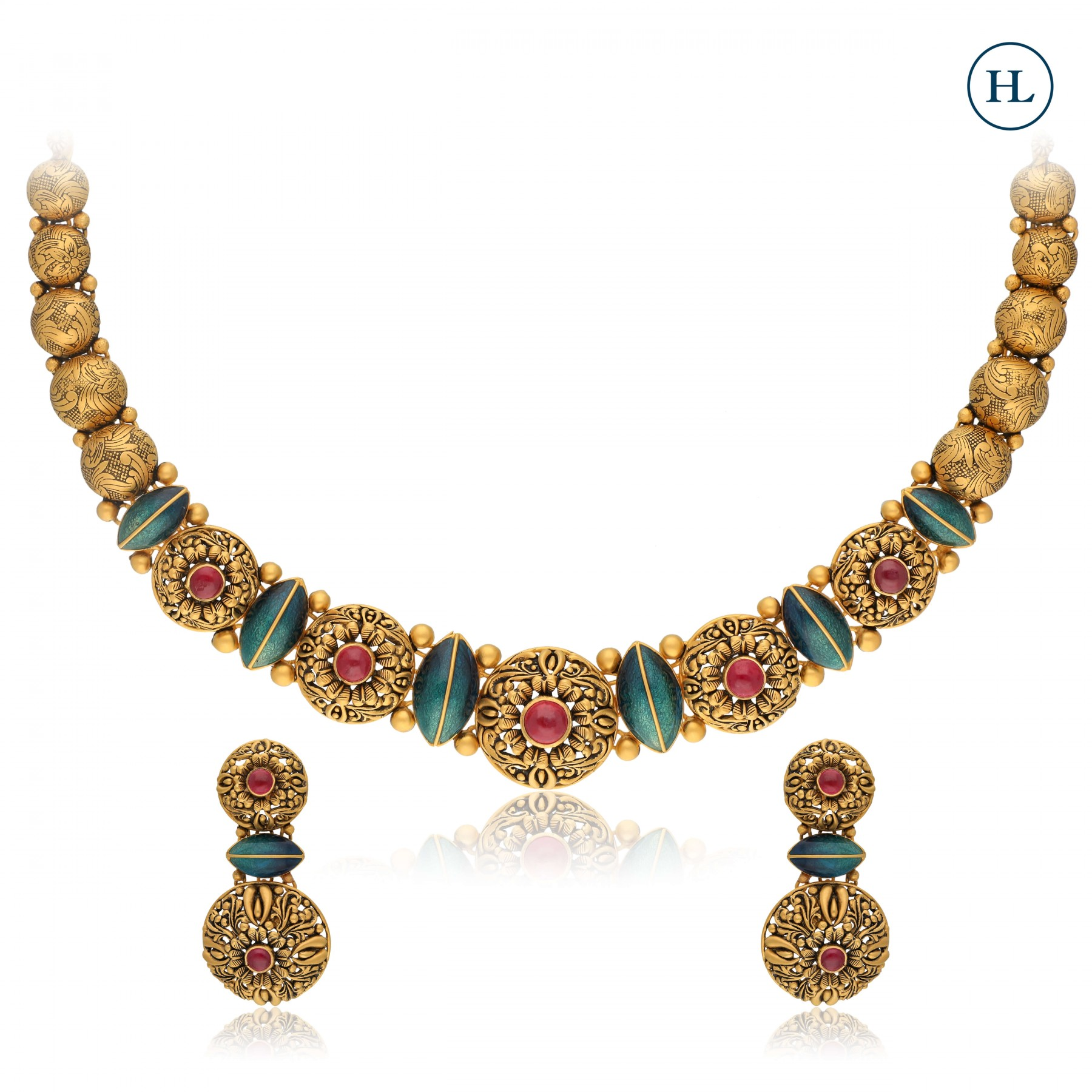 Antique-Styled Ruby & Gold Necklace Set