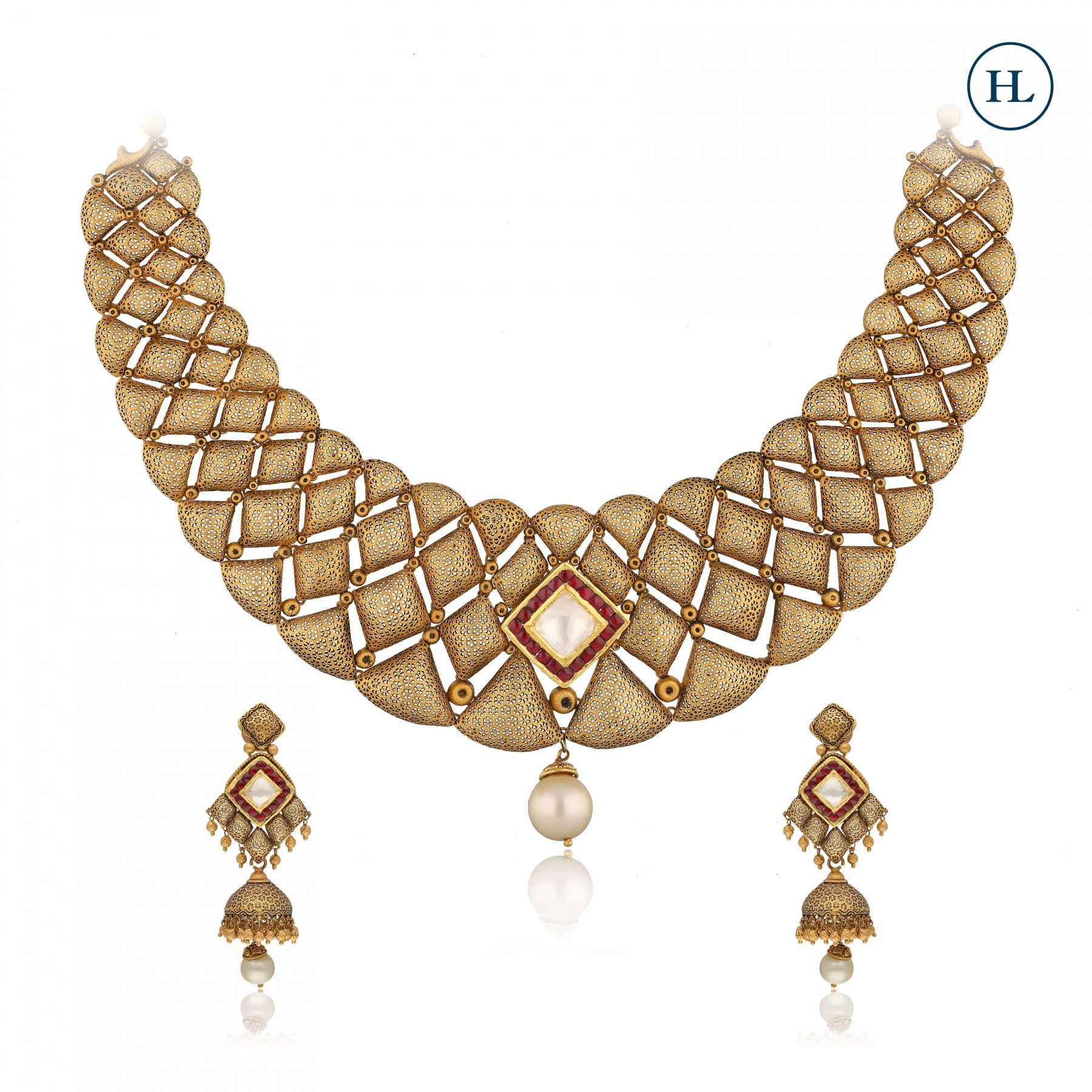 Antique-Styled Gold & Pearl Necklace Set