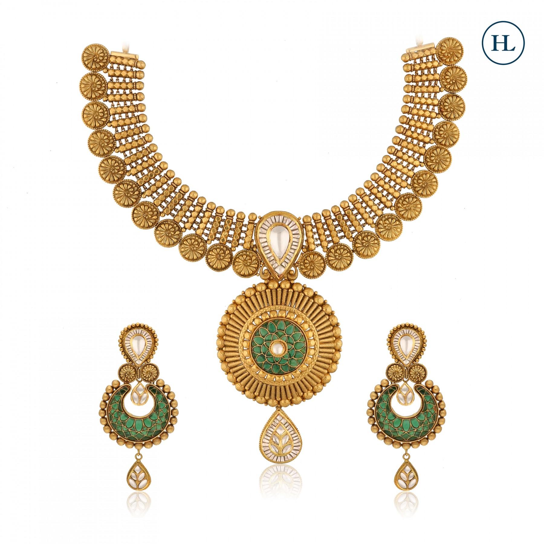 Enamel Gold & Kundan Necklace Set