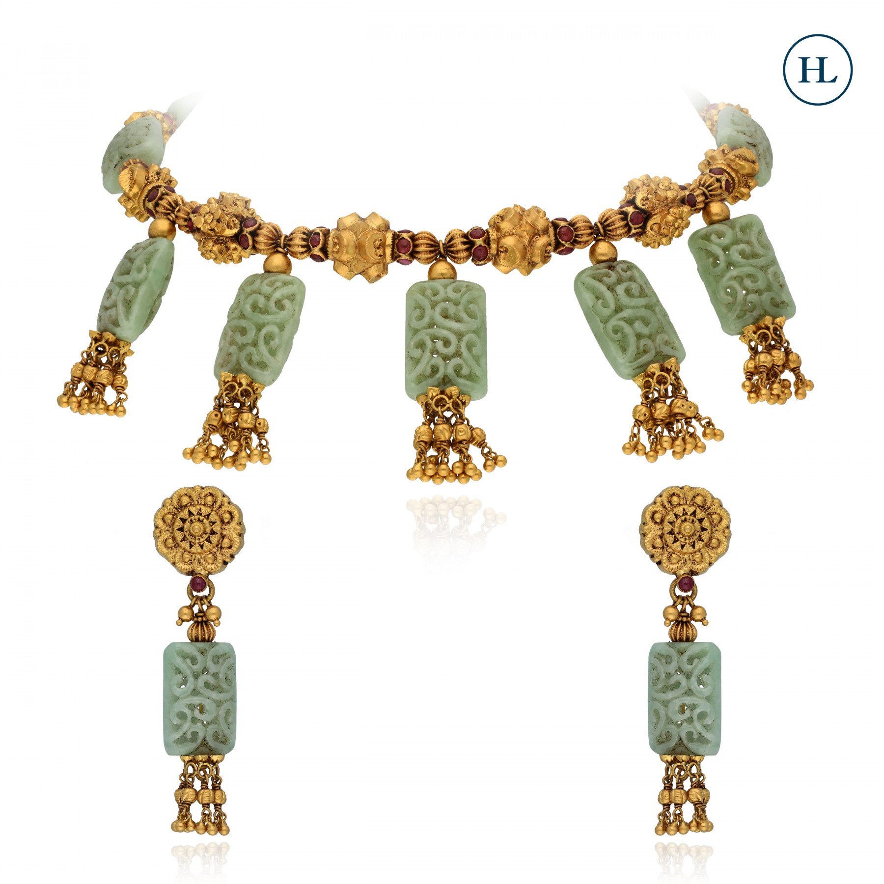 Antique-Styled Gold & Jade Necklace Set