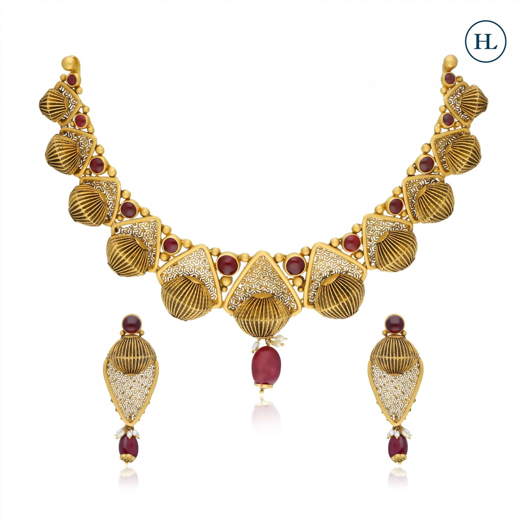 Ruby & Gold Necklace Set
