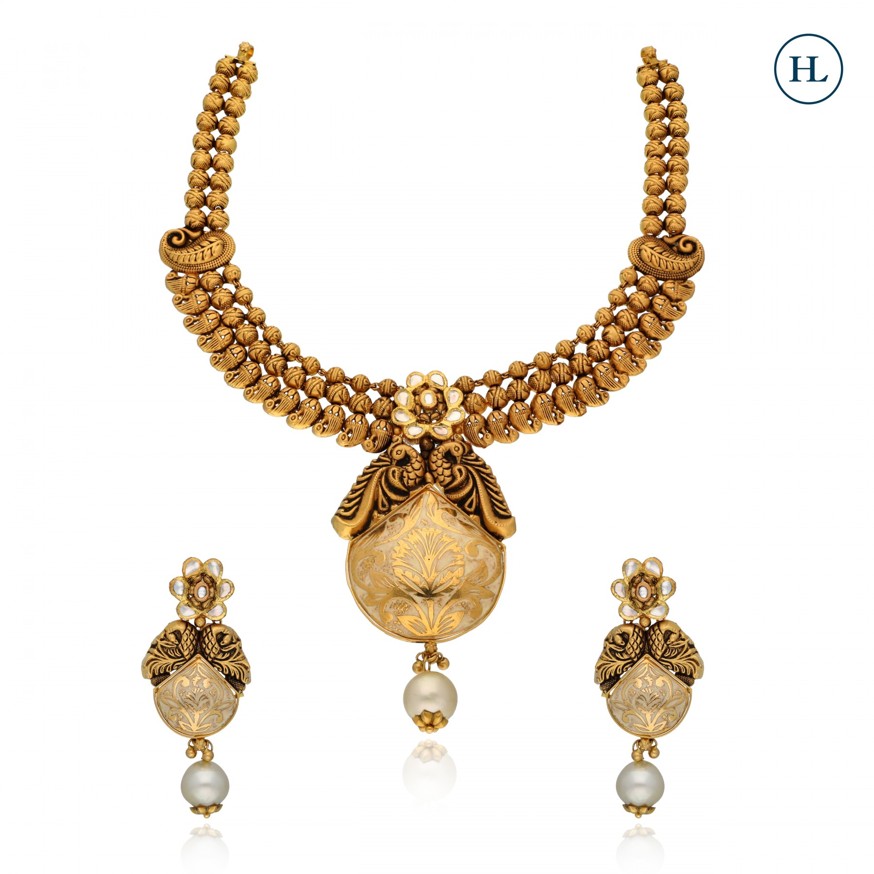 Antique-Styled Gold Enamel Necklace Set
