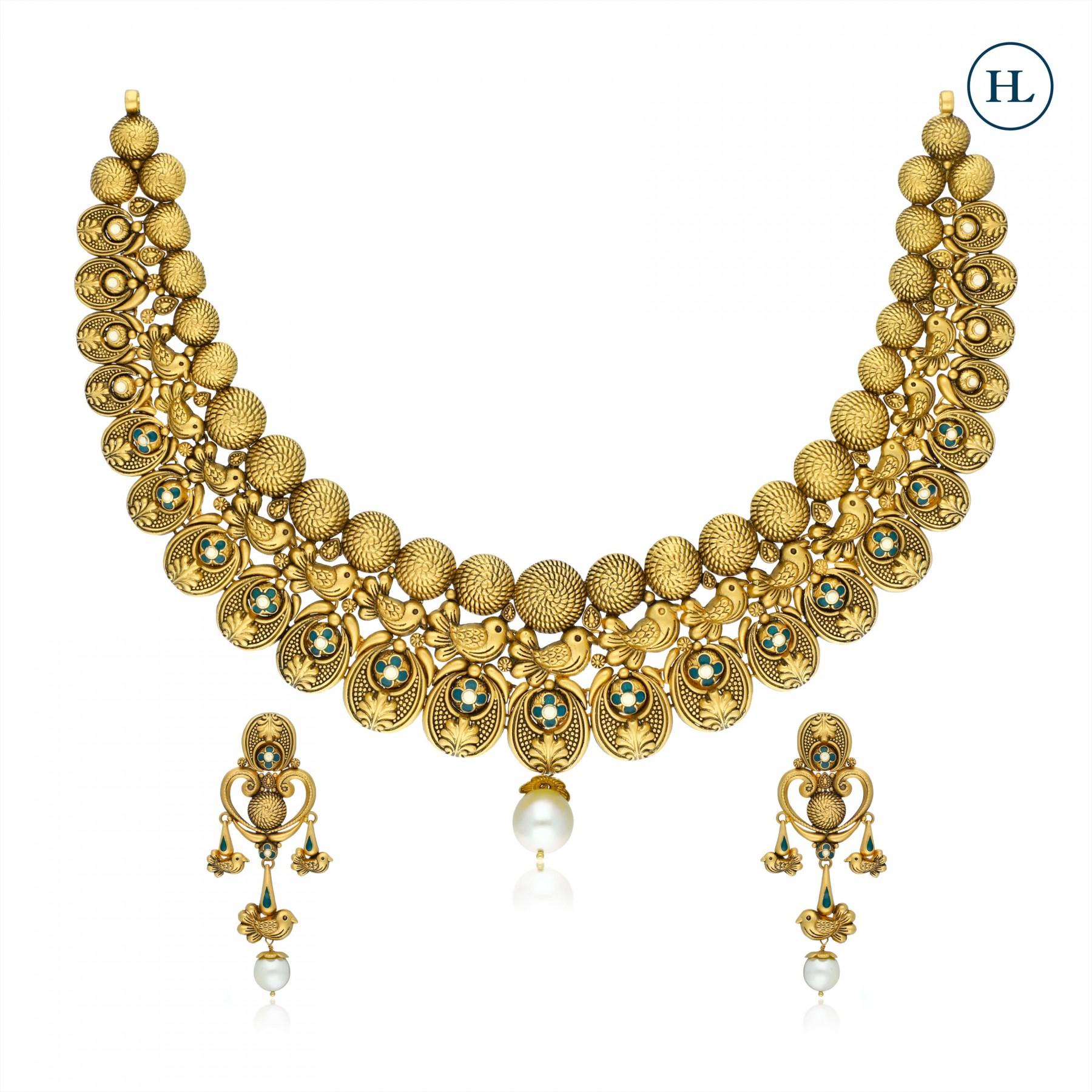 Enamel Flower Gold Necklace Set