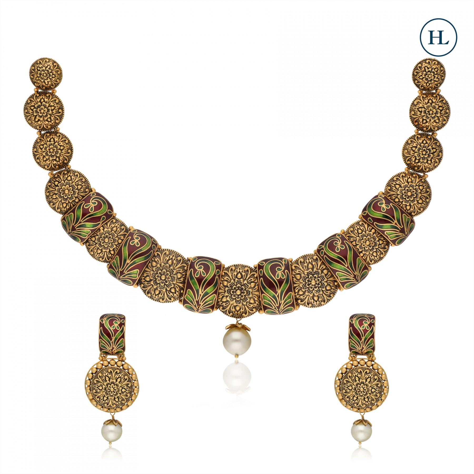 Enamel Gold Necklace Set