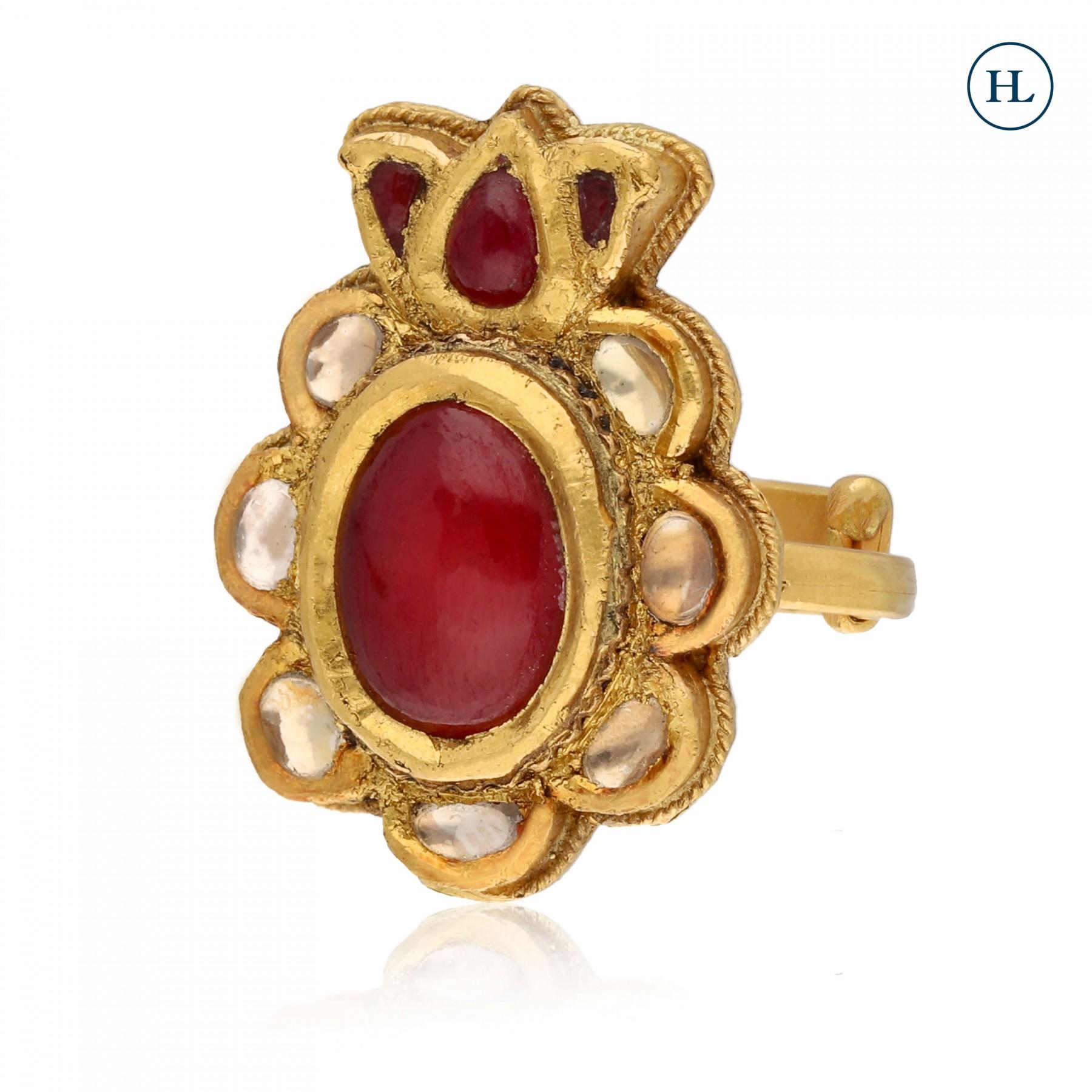 Antique-Styled Gold & Kundan Ring