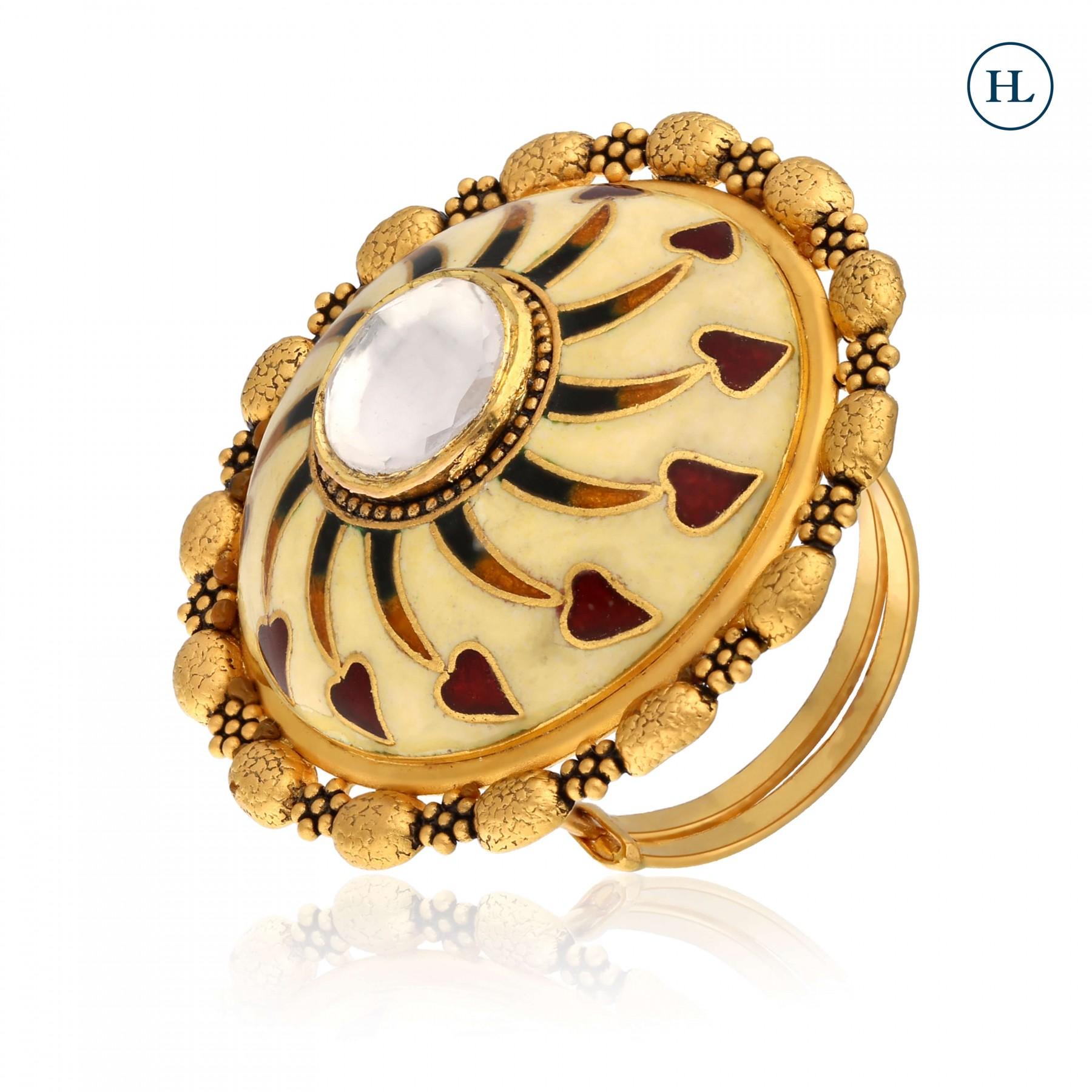 Gold Round Enamel Ring
