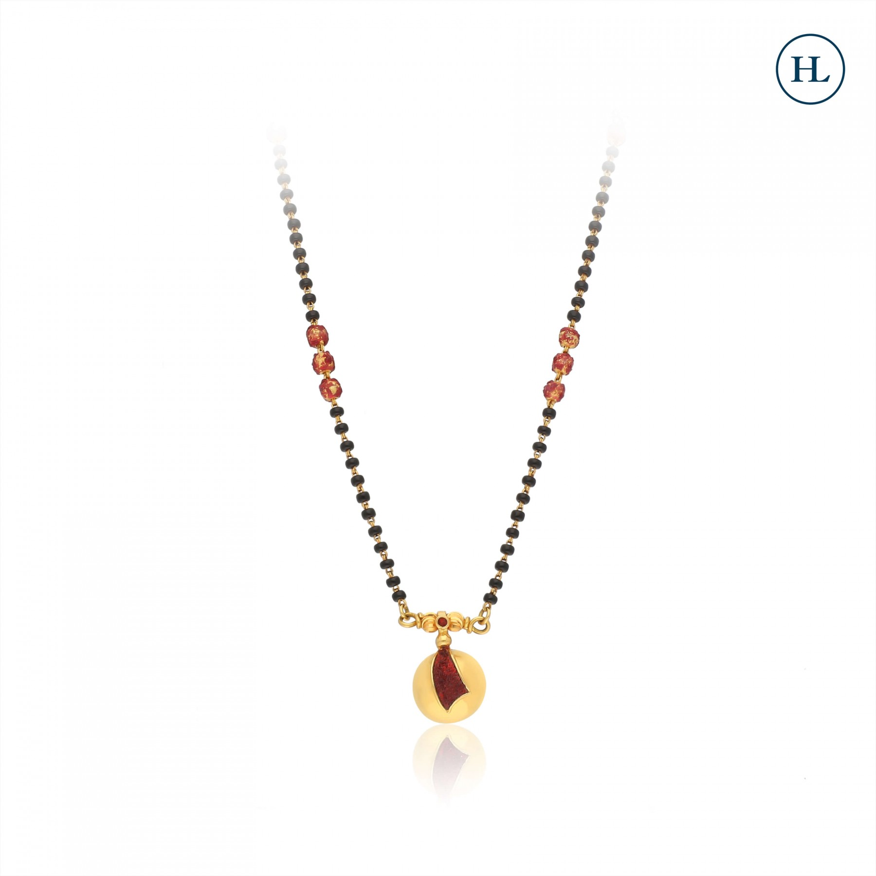 Red Enamel Traditional Gold Mangalsutra