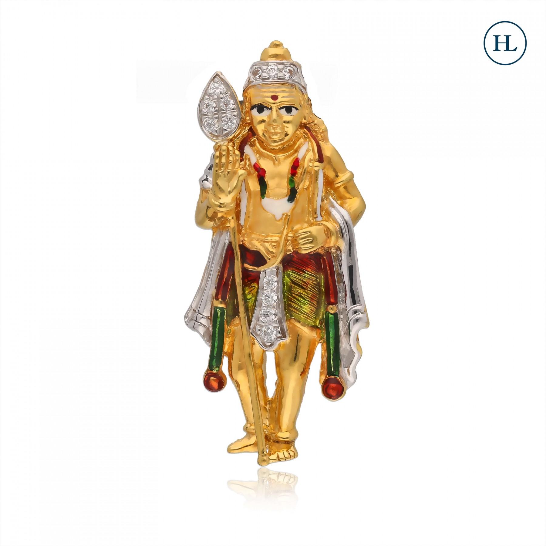Zircon Hanuman Gold Pendant
