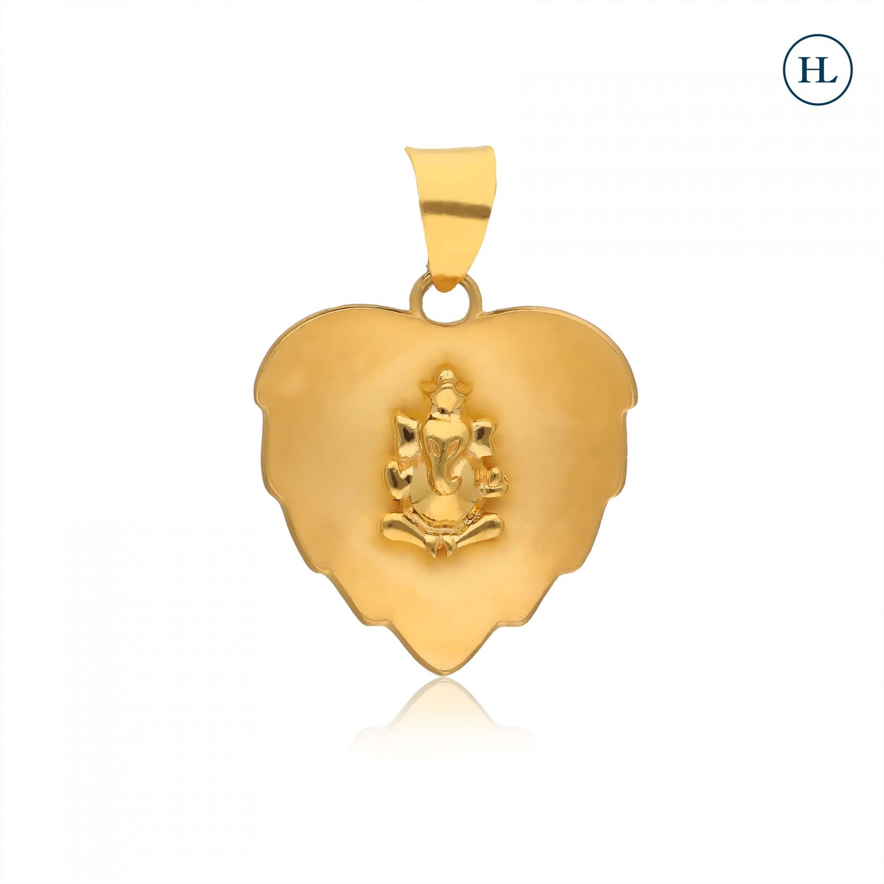 Matt Ganpati Gold Pendant
