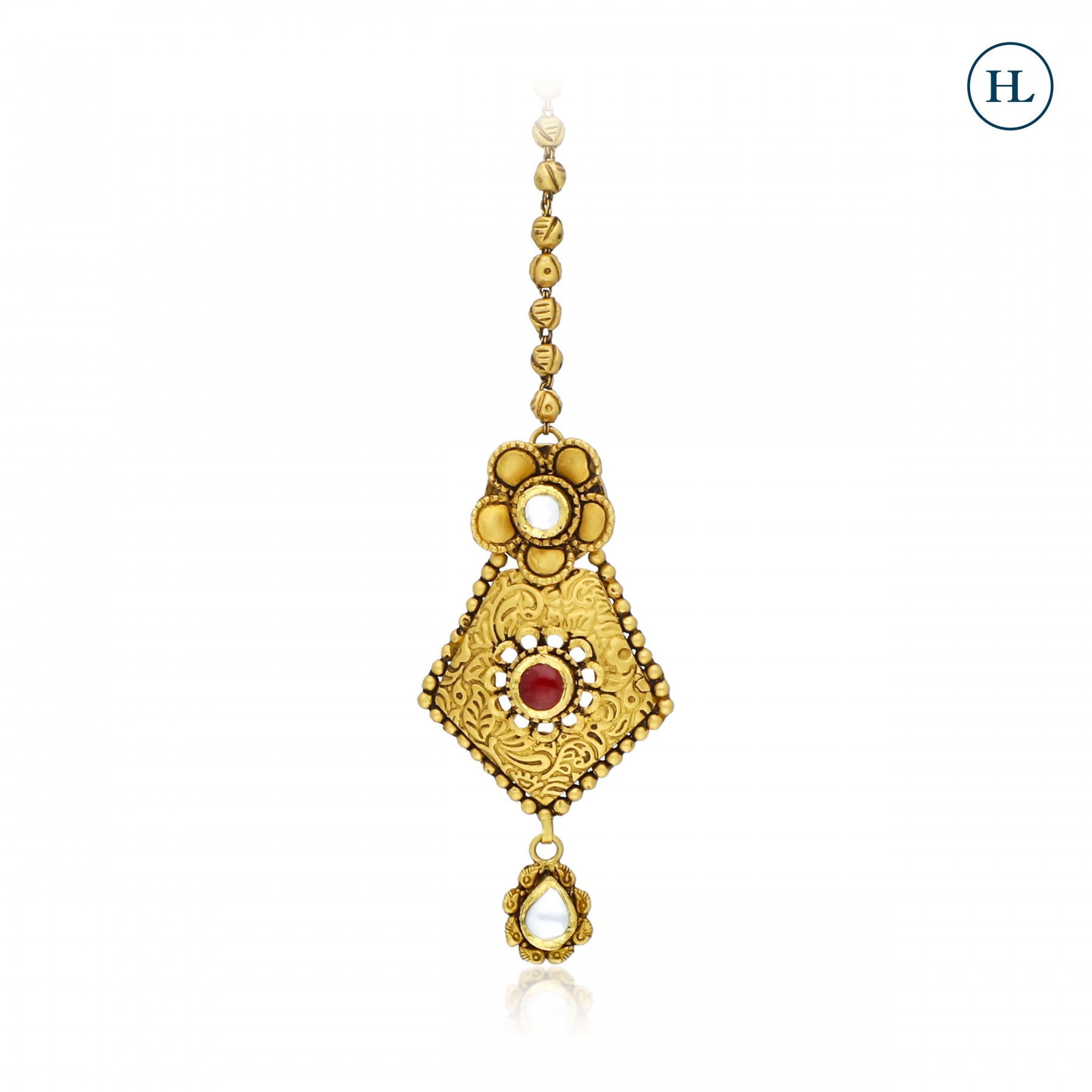 Antique-Styled Flower Gold Maang Tikka