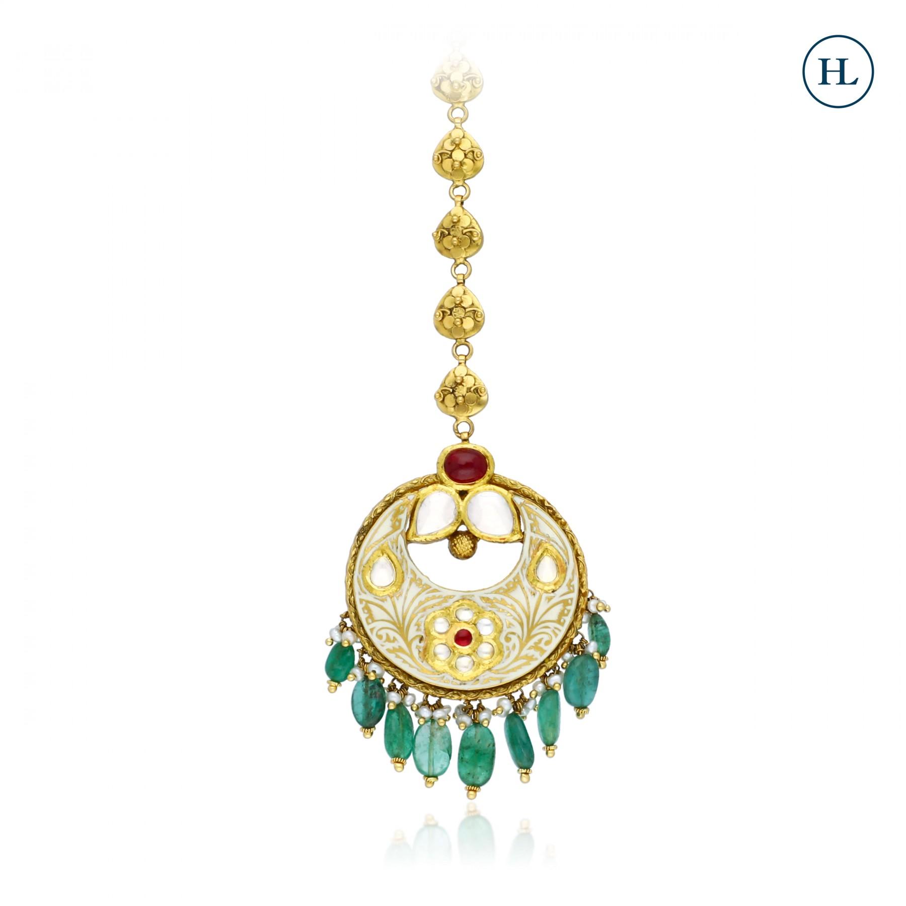 Emerald & Gold Maang Tikka