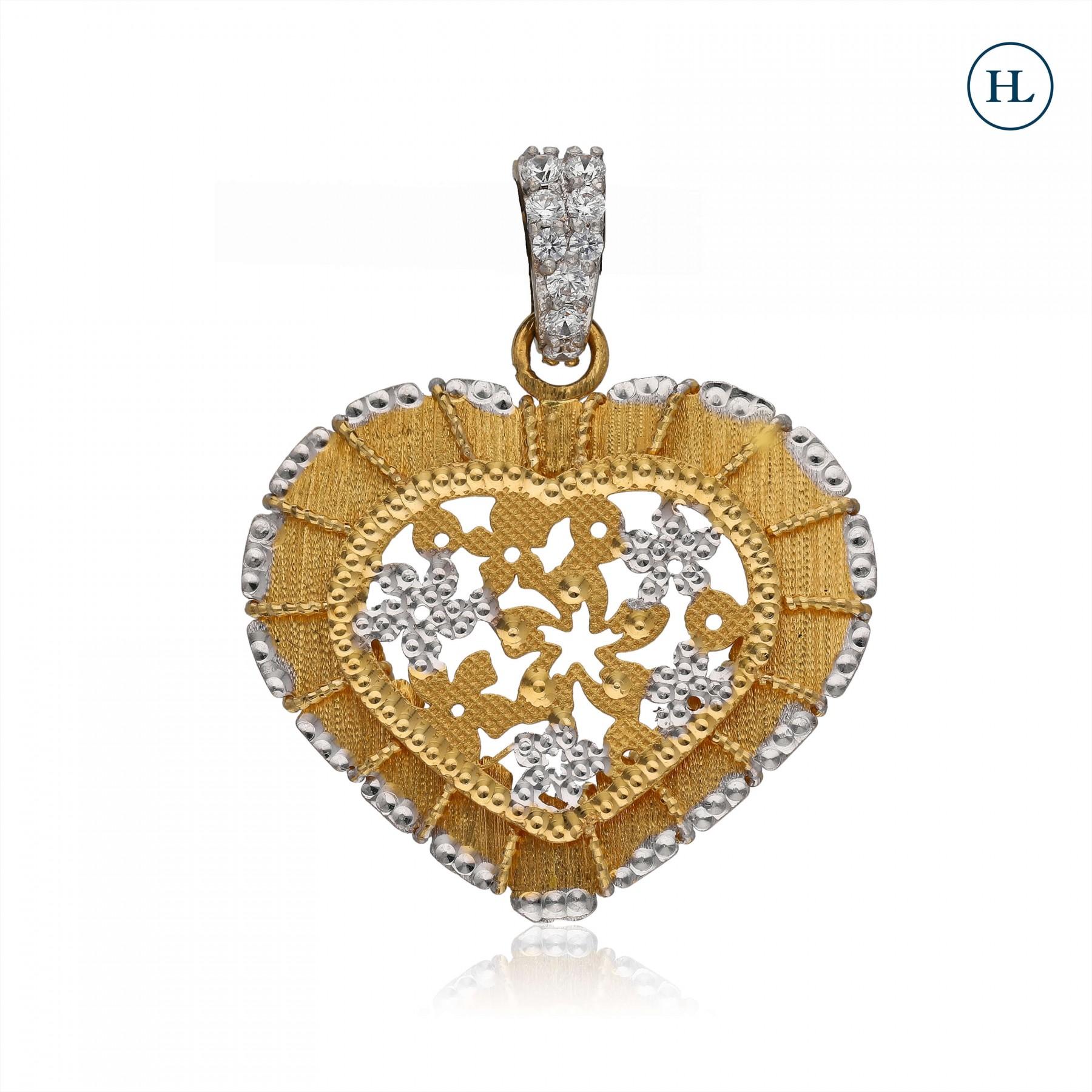 Zircon Heart Gold Pendant