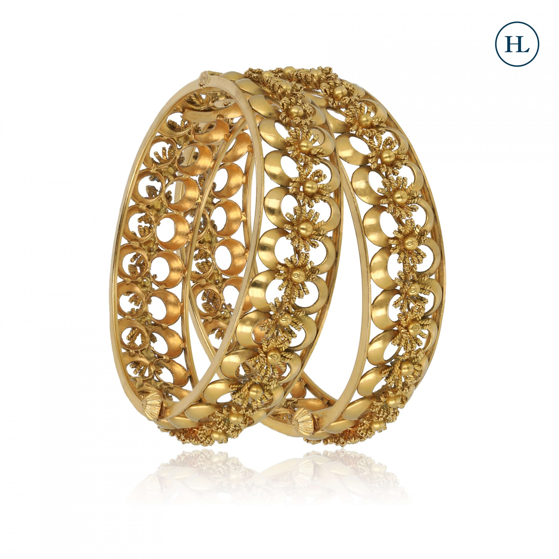 Flower Openable Gold Bangle Pair