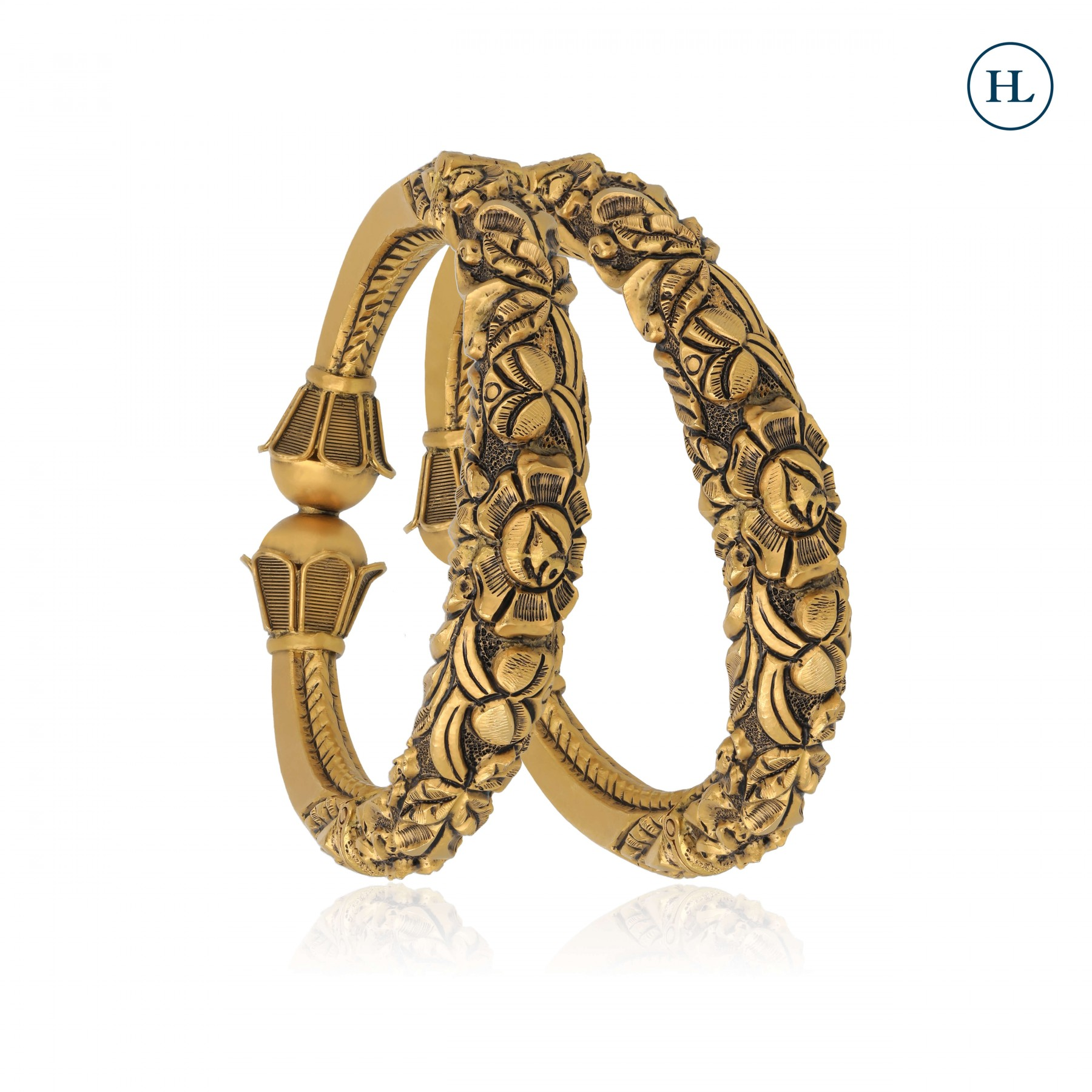 Antique-Styled Flower Openable Gold Bangle Pair