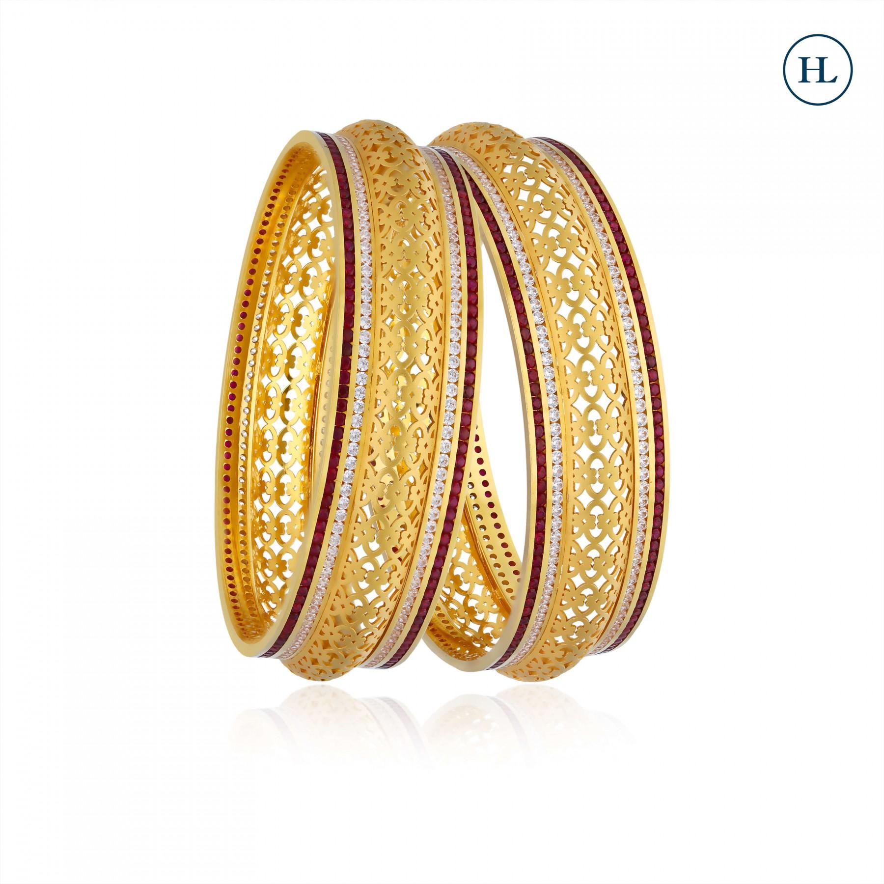 Zircon Gold Bangle Pair