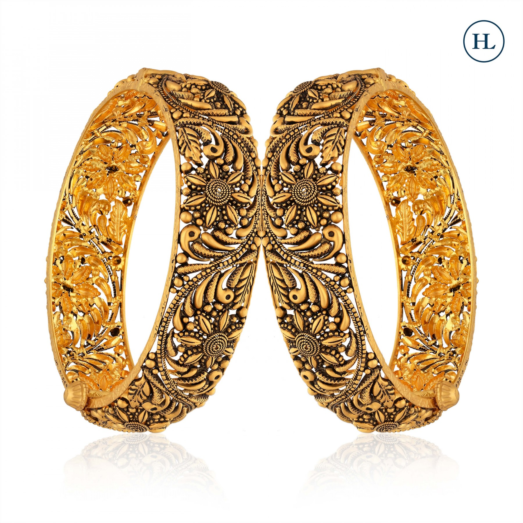 Antique-Styled Filigree Openable Gold Bangle Pair