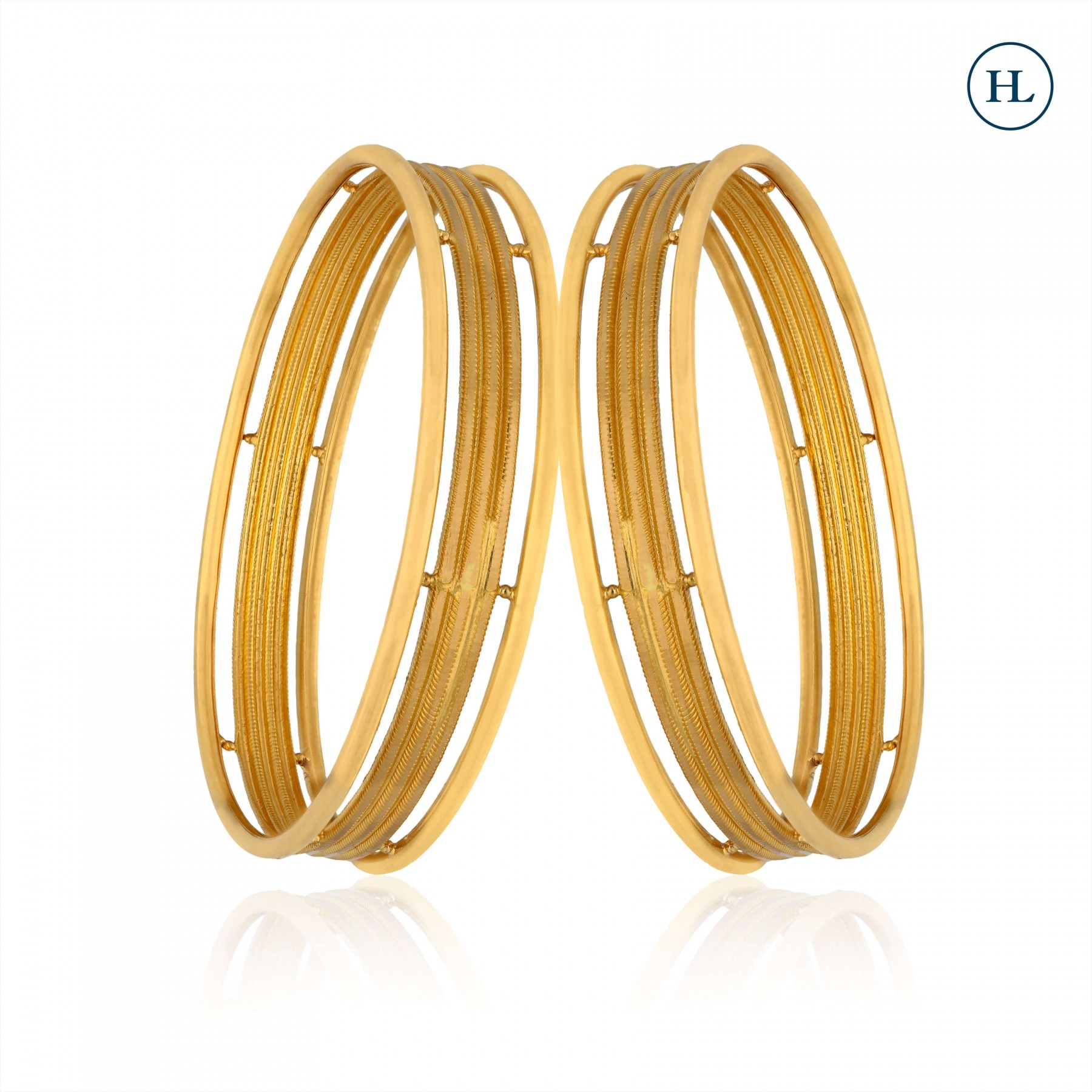 Frost and Shine Gold Bangle Pair