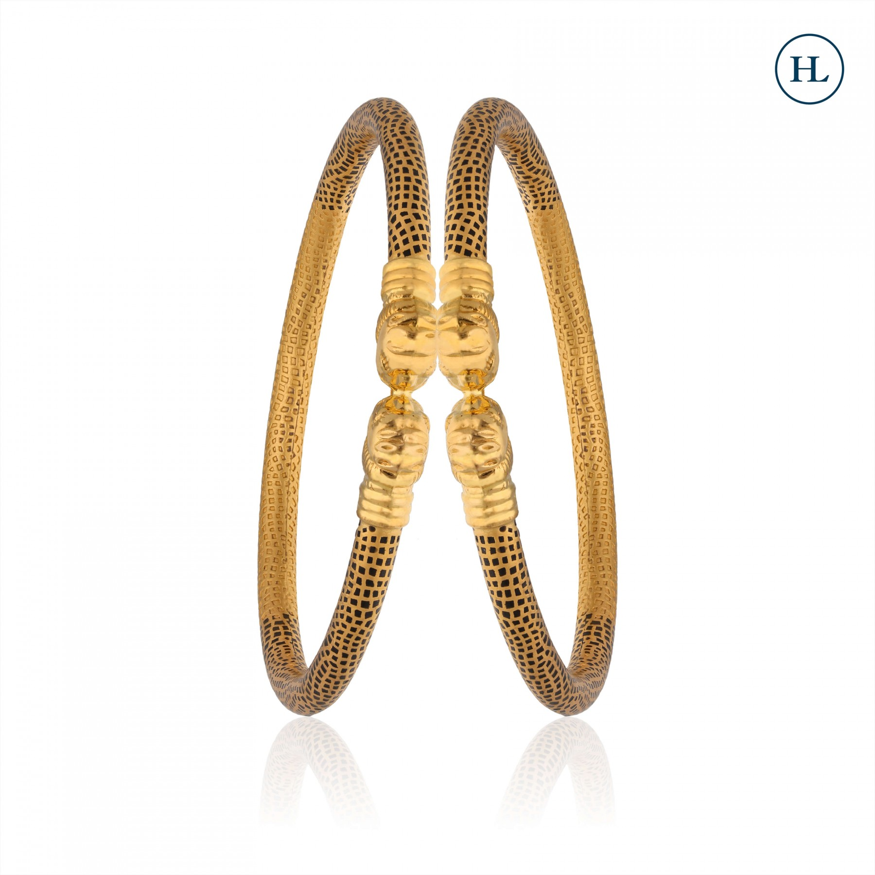 Hollow Pipe Gold Bangle Pair
