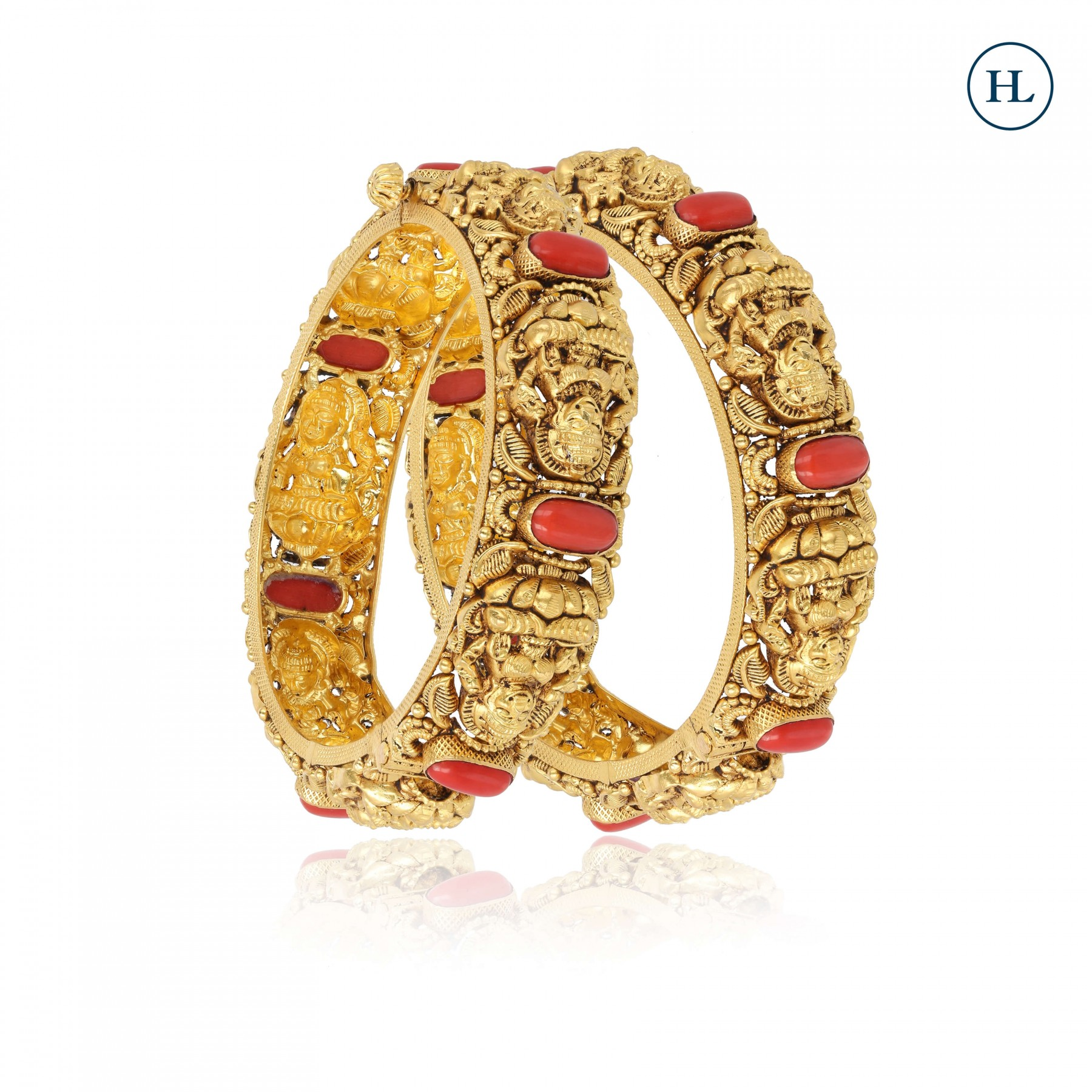 Coral & Gold Openable Bangle Pair