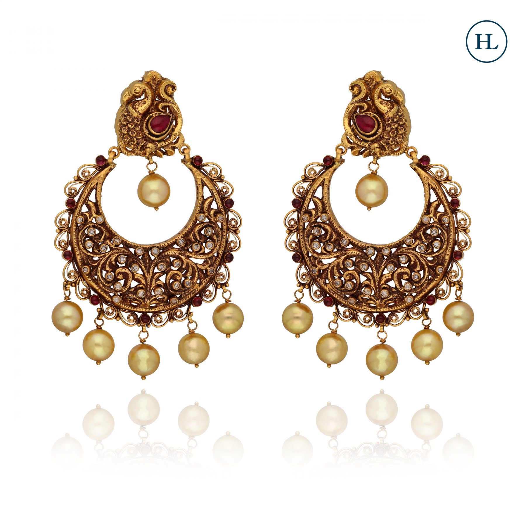 Antique-Styled Pearl Chand Bali