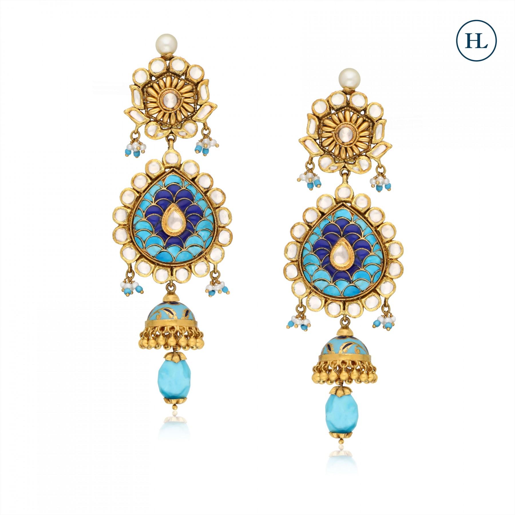 Enamel Kundan & Gold Earrings