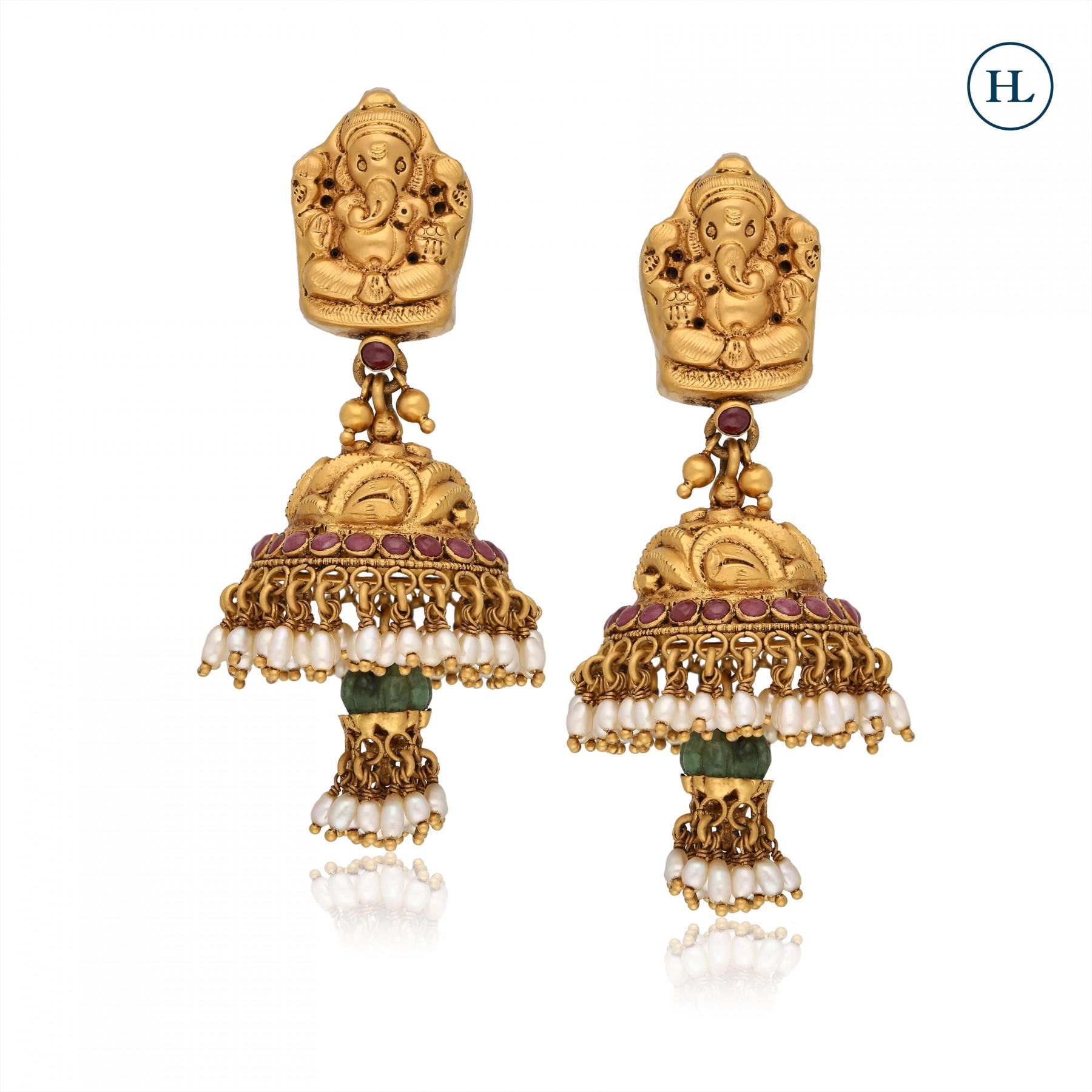 Emerald & Gold Temple Earrings