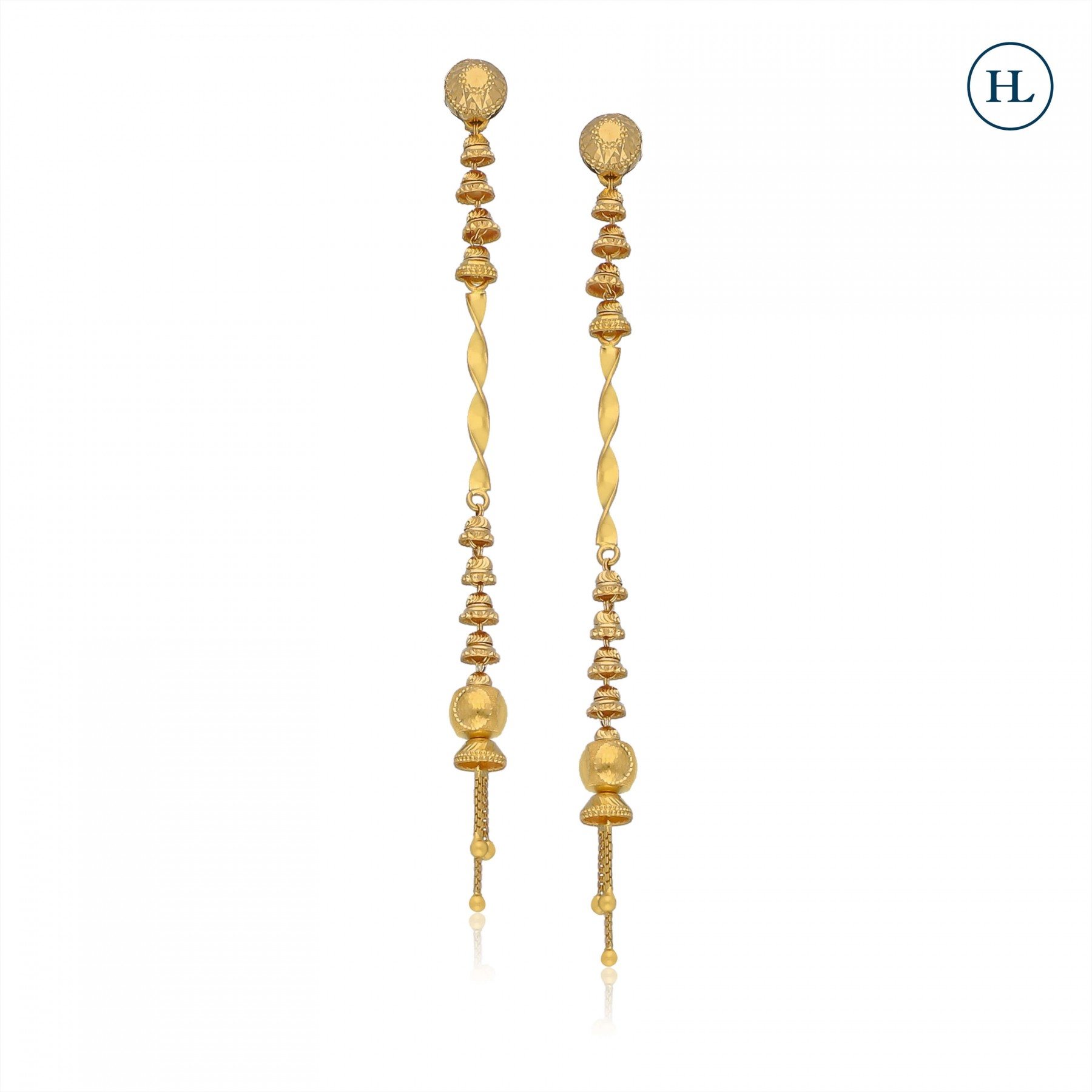 Curve And Cut Work Gold Earrings